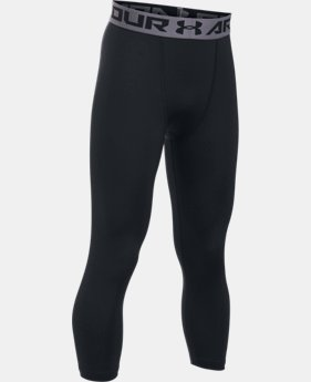 New Arrival  Boys' HeatGear® Armour ¾ Blocked Leggings  1 Color $34.99