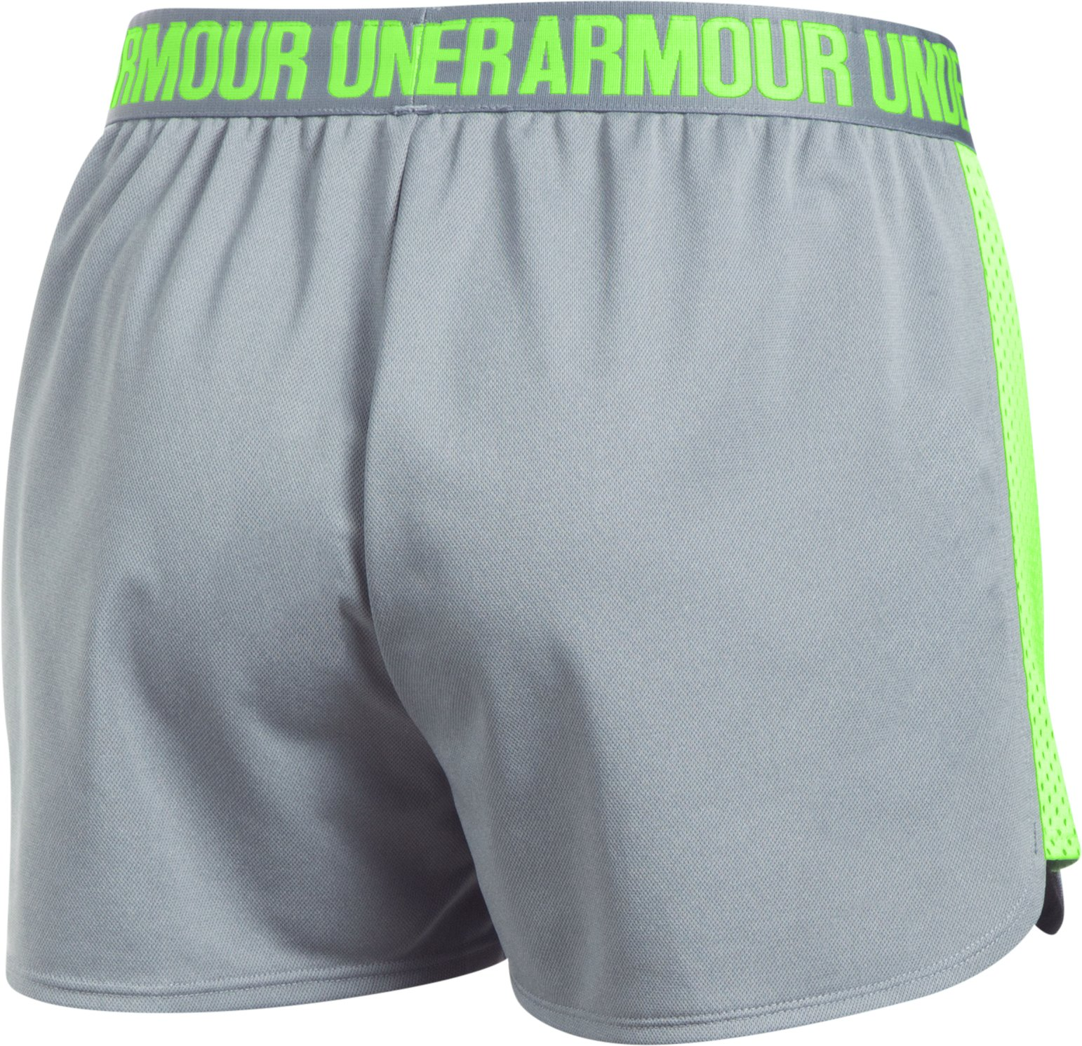 Women's UA Play Up Mesh Inset Shorts, True Gray Heather,