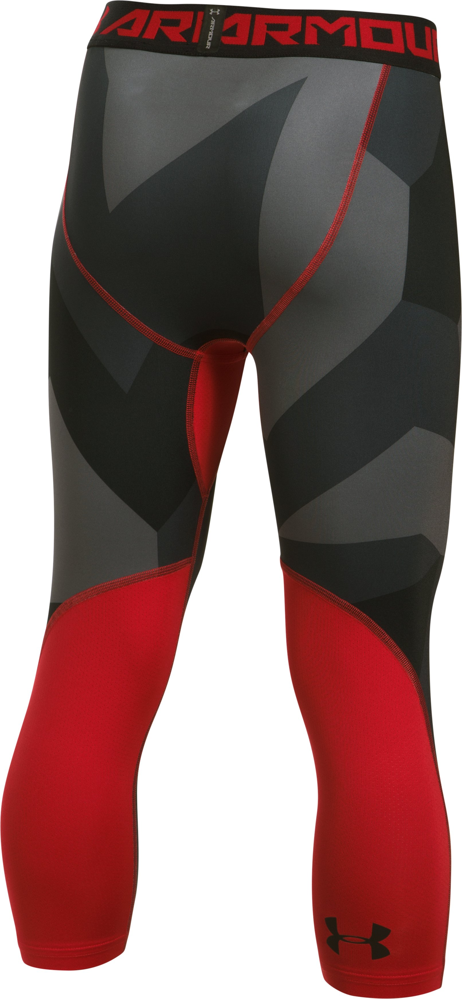 Boys' HeatGear® Armour Printed ¾ Legging, Red,