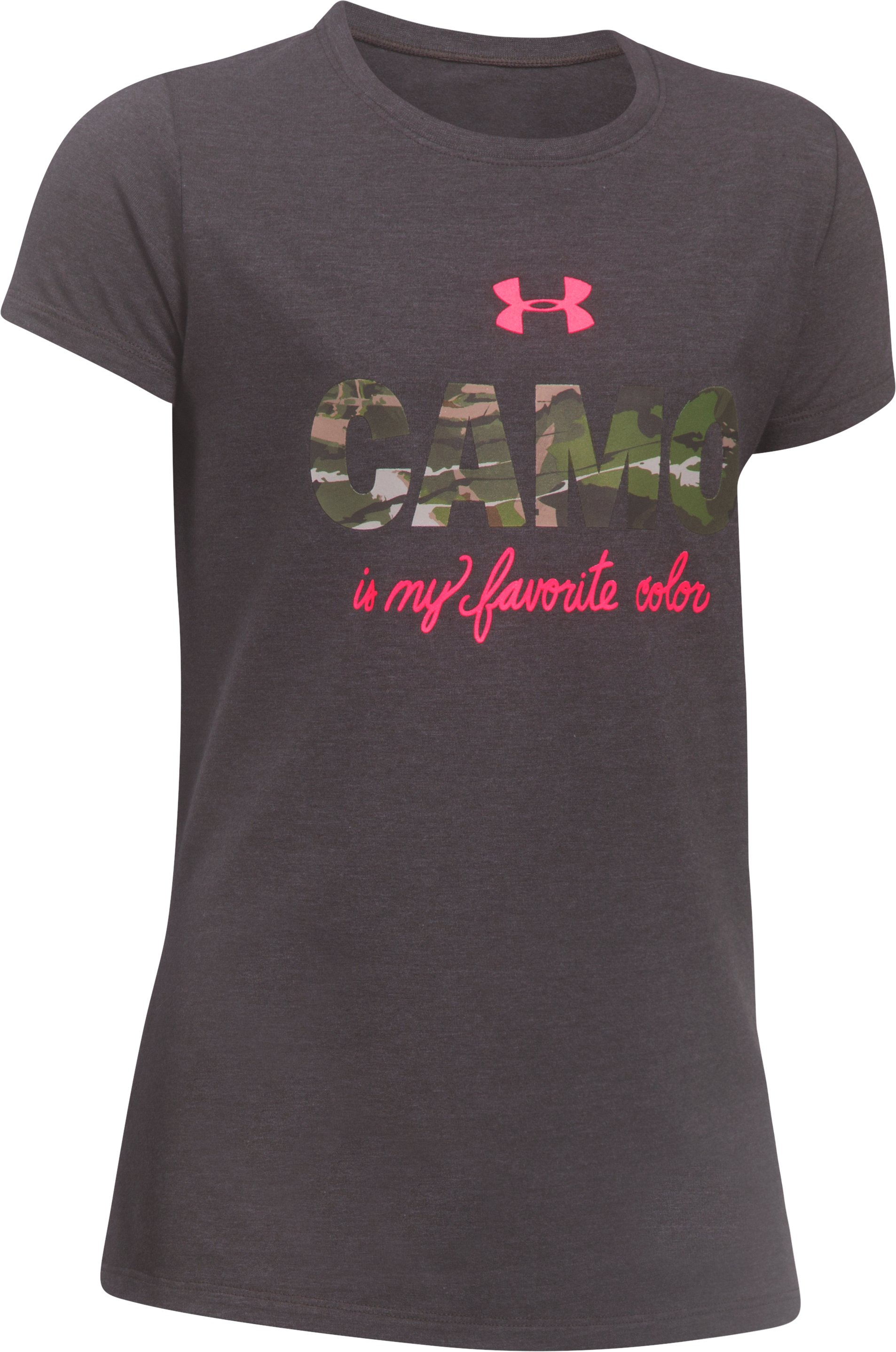 Girls' UA Camo Favorite T-Shirt, CHARCOAL MEDIUM HEATHER, undefined