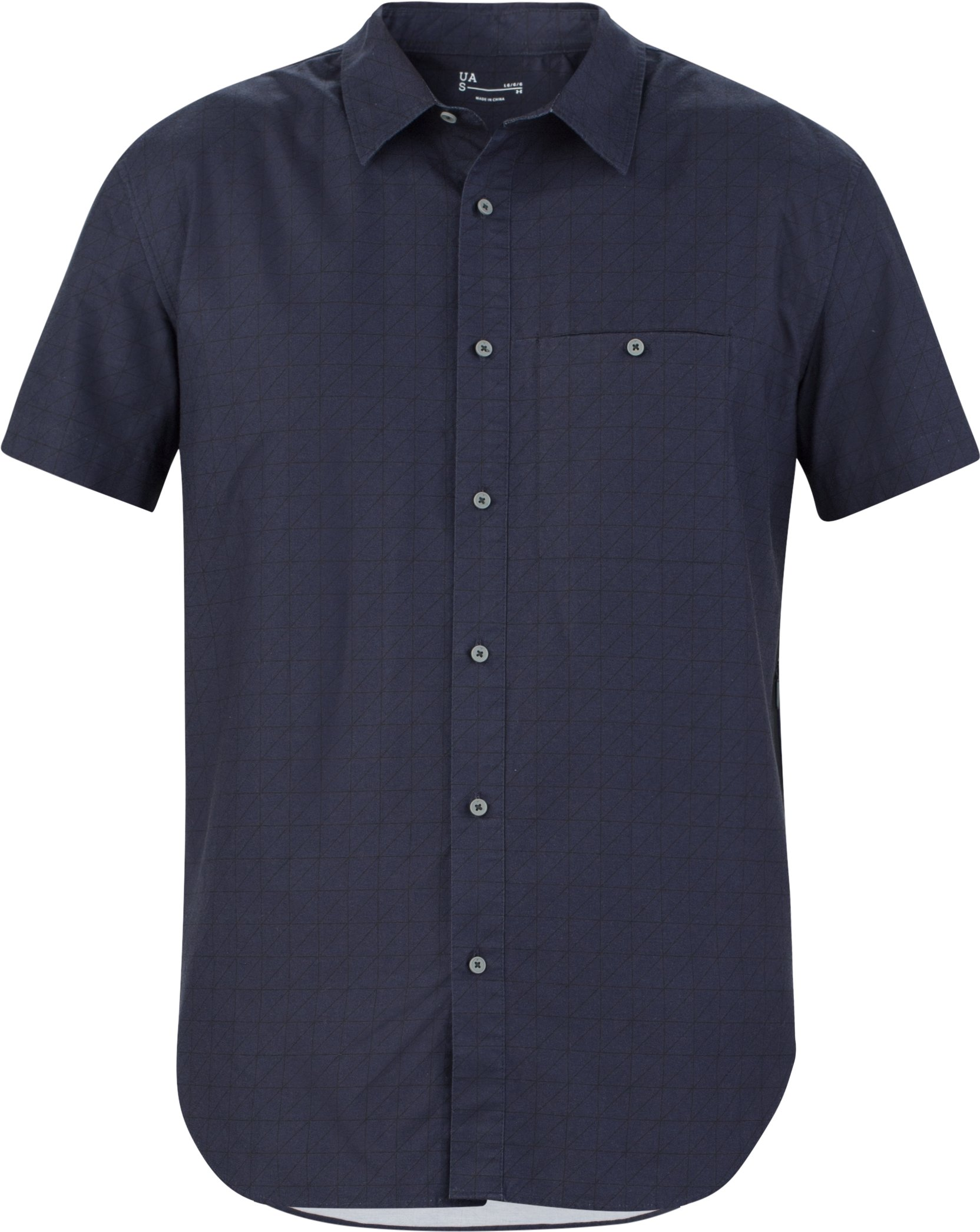 Men's UAS Draftday Pattern Oxford Short Sleeve, Navy, undefined