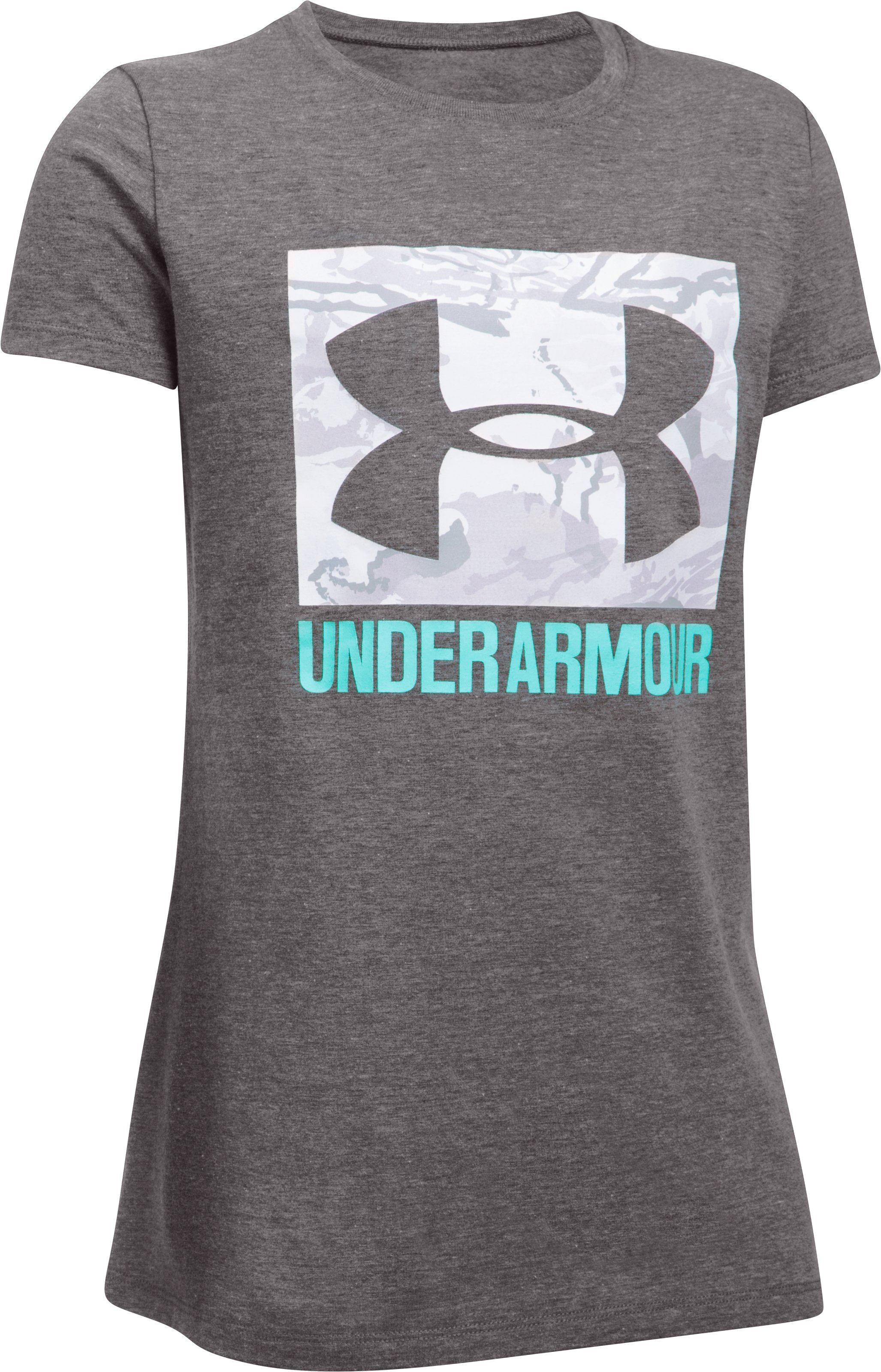 Girls' UA Camo Fill T-Shirt, CHARCOAL LIGHT HEATHER, undefined