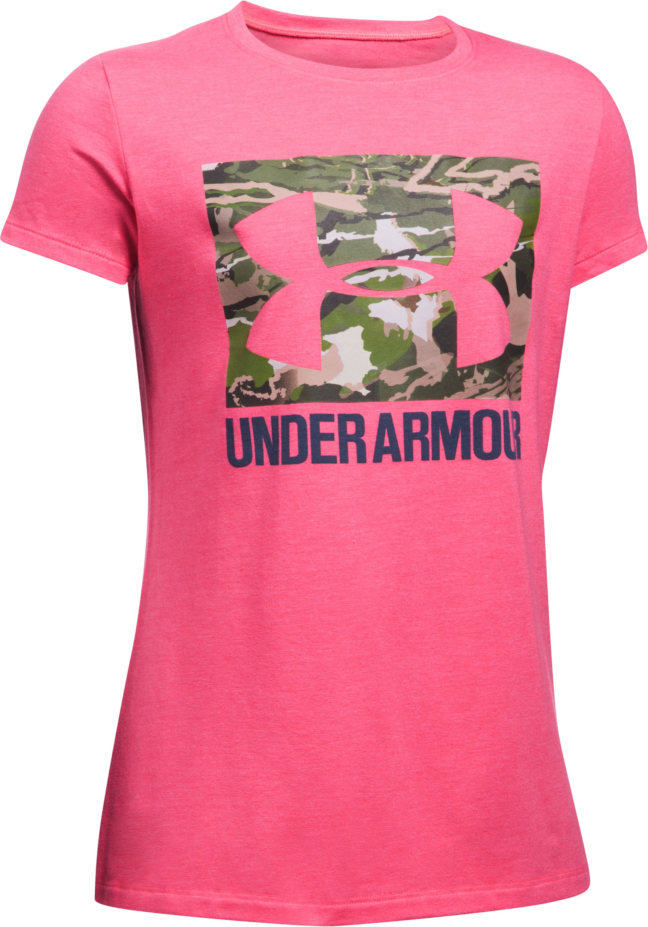 Girls' UA Camo Fill T-Shirt, PENTA PINK MEDIUM HEATHER, undefined