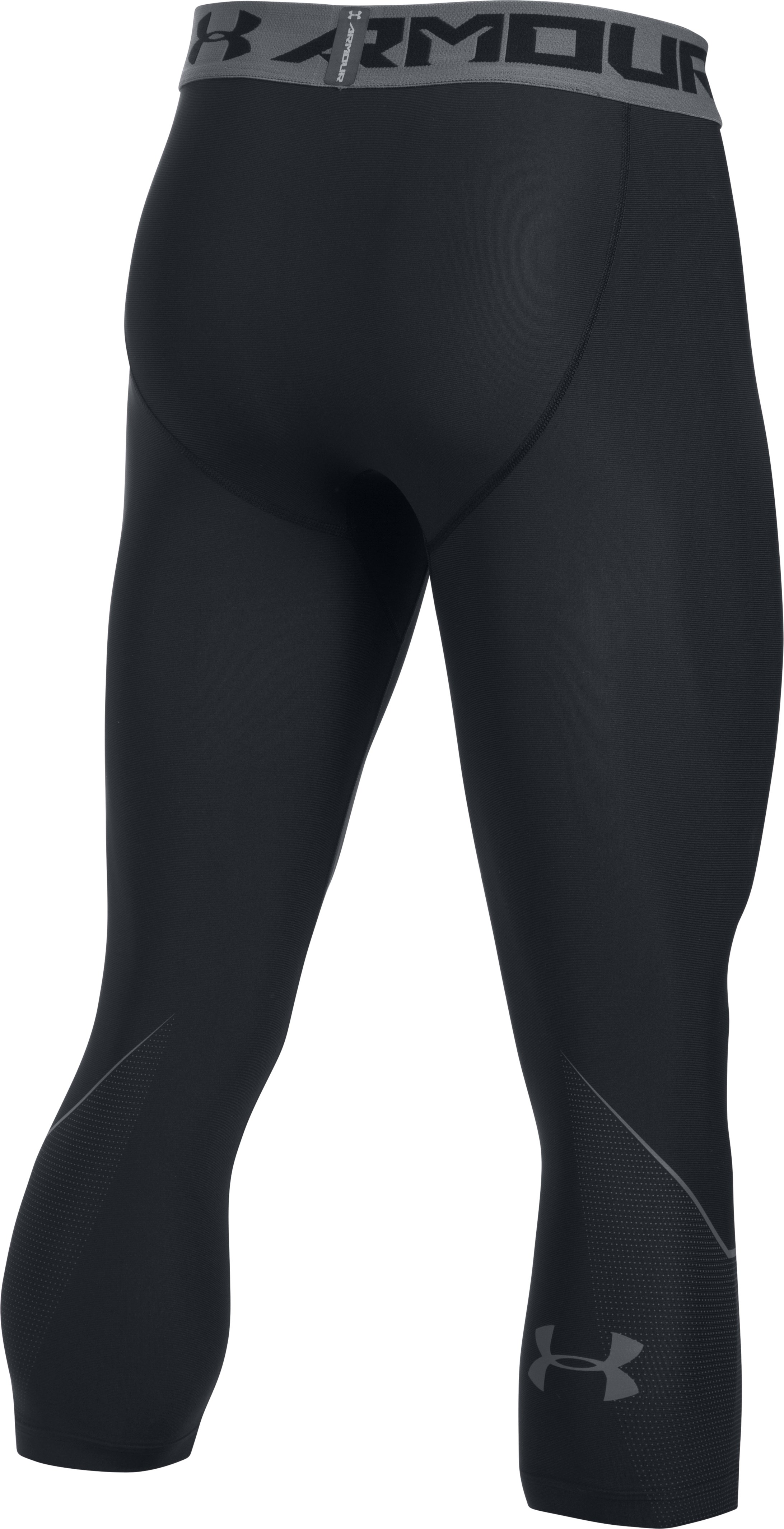 Men's HeatGear® Armour Gradient Logo ¾ Leggings, Black , undefined
