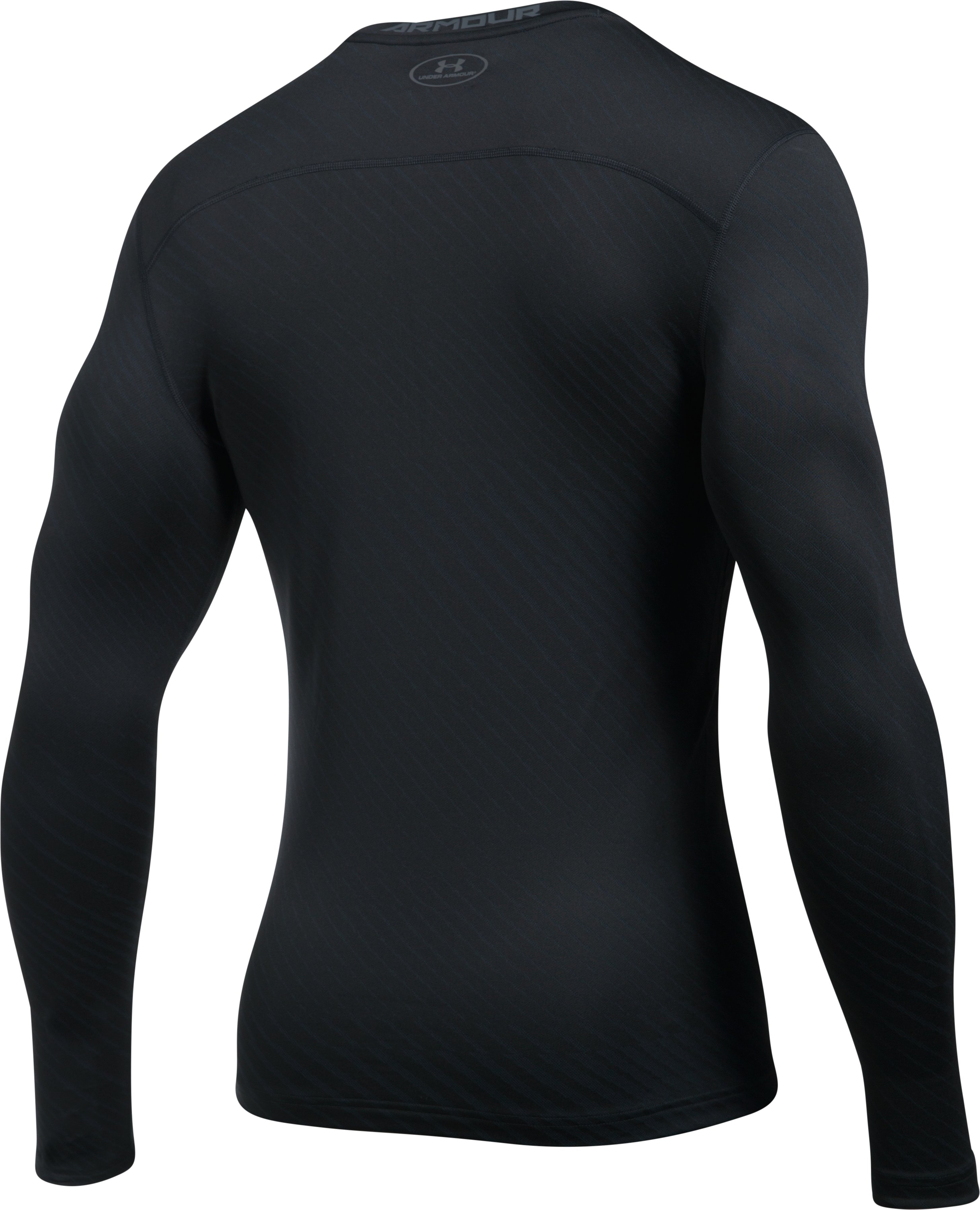 Men's UA ColdGear® Armour Jacquard Compression Crew, Black ,