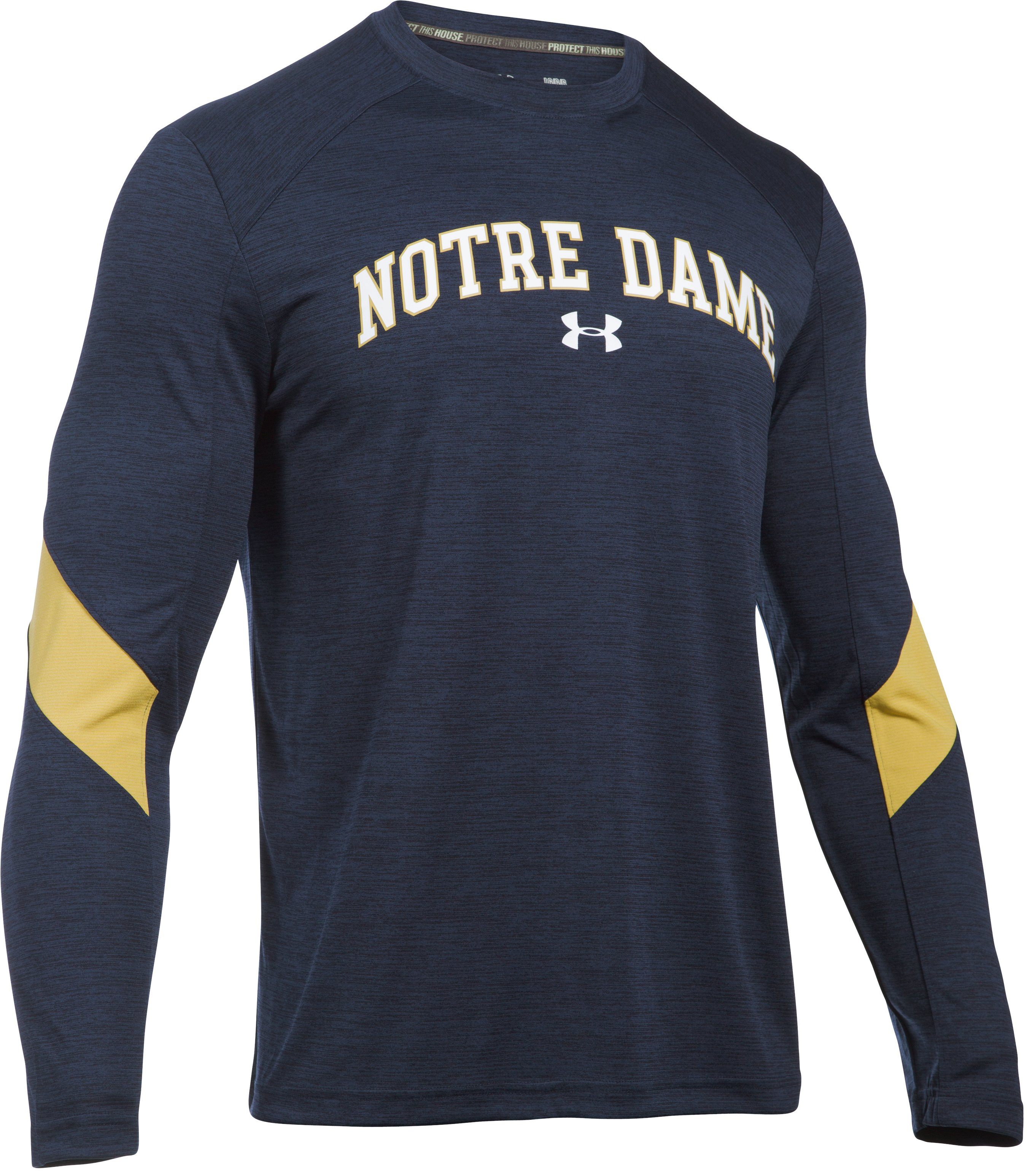 Men's Notre Dame UA Microthread Long Sleeve T-Shirt , Midnight Navy, undefined