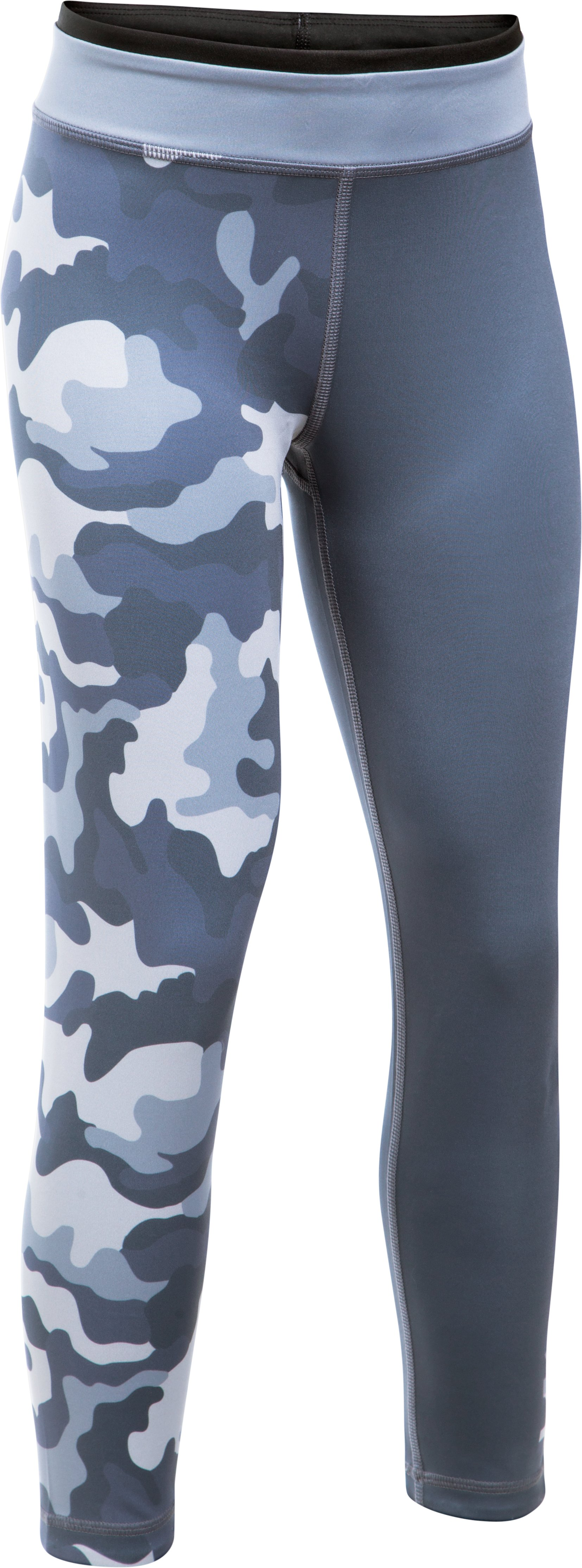 Girls' UA Reversible Crop Leggings, APOLLO GRAY