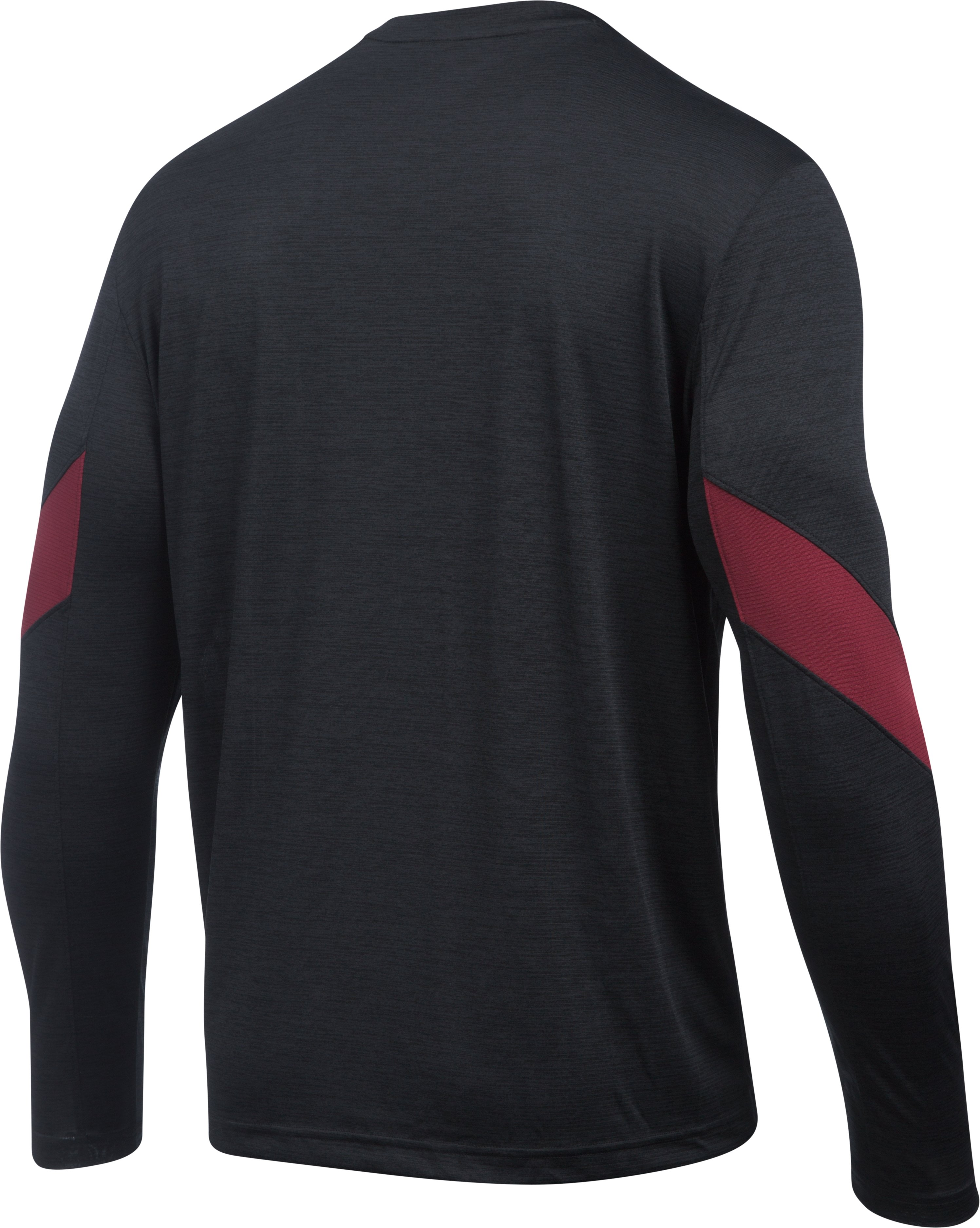 Men's Boston College UA Microthread Long Sleeve T-Shirt, Black , undefined