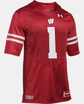 New Arrival Men's Wisconsin #1 UA Premier Football Jersey  1 Color $104.99