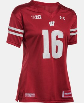 New Arrival Women's Wisconsin #16 UA Replica Football Jersey  1 Color $74.99
