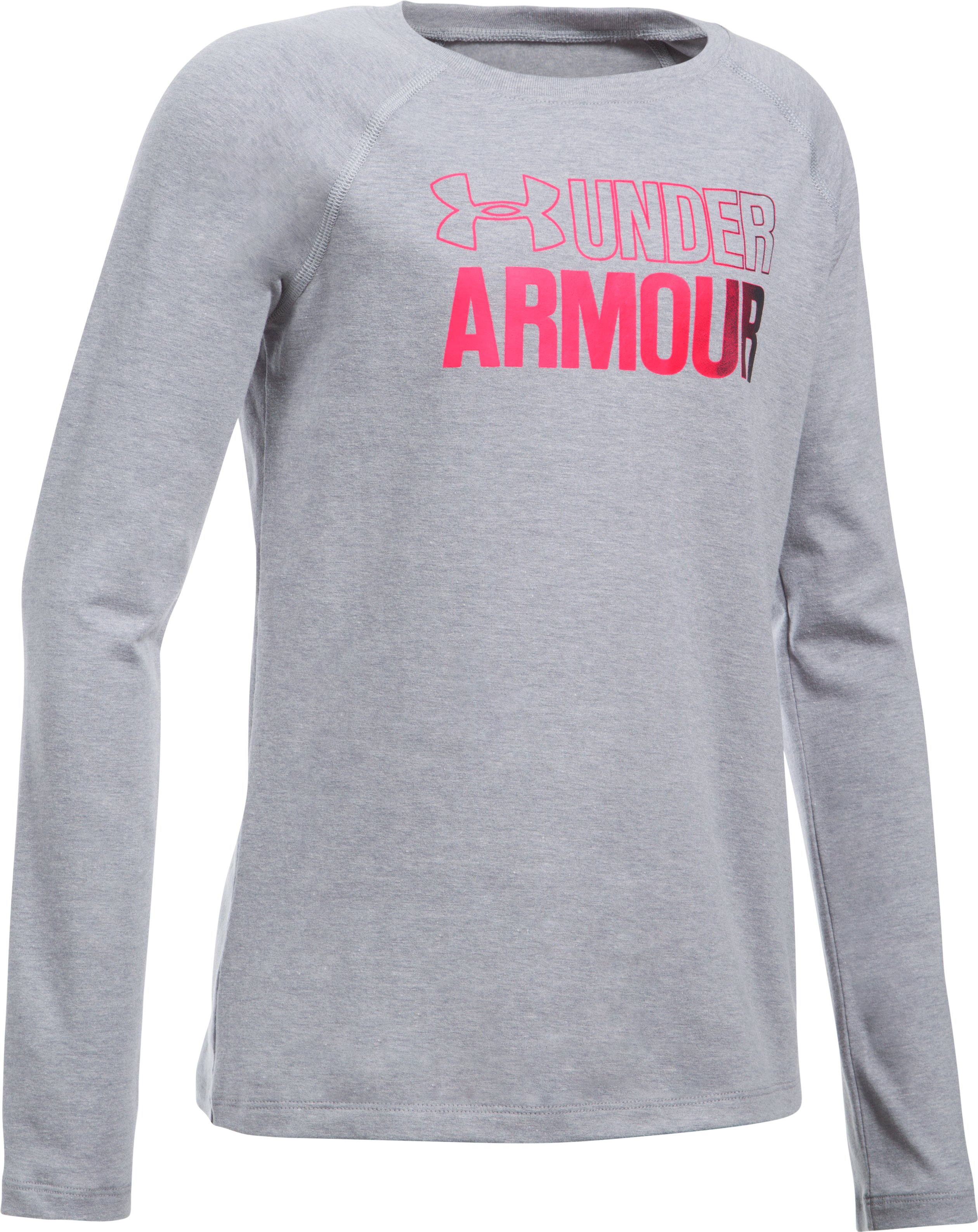 Girls' UA Combo Logo Long Sleeve, STEEL LIGHT HEATHER,