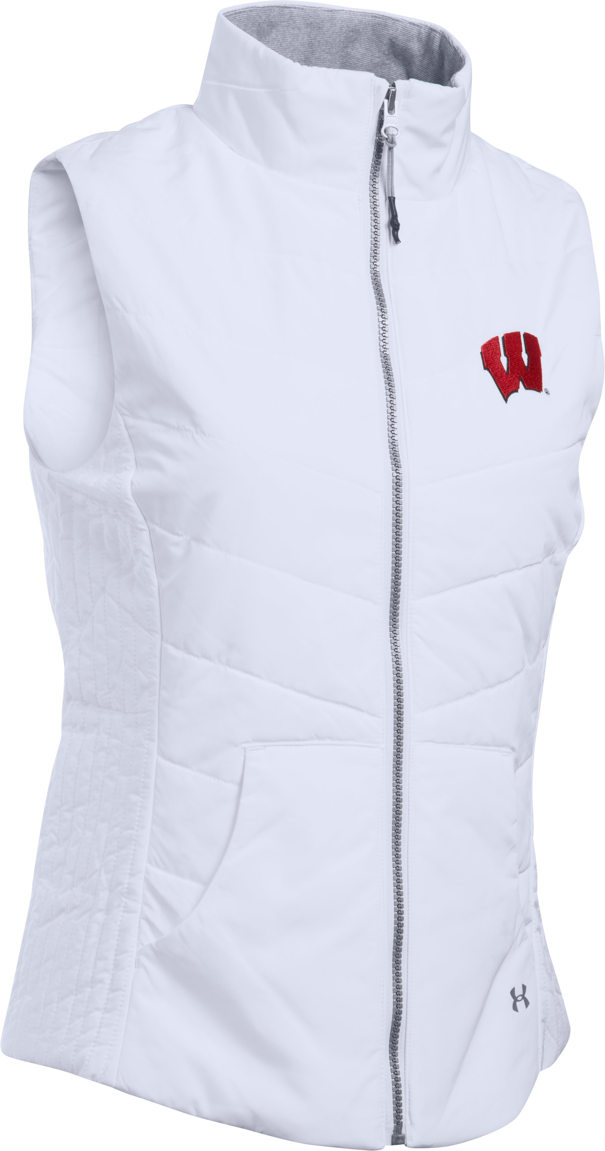Women's Wisconsin Puffer Vest, White,