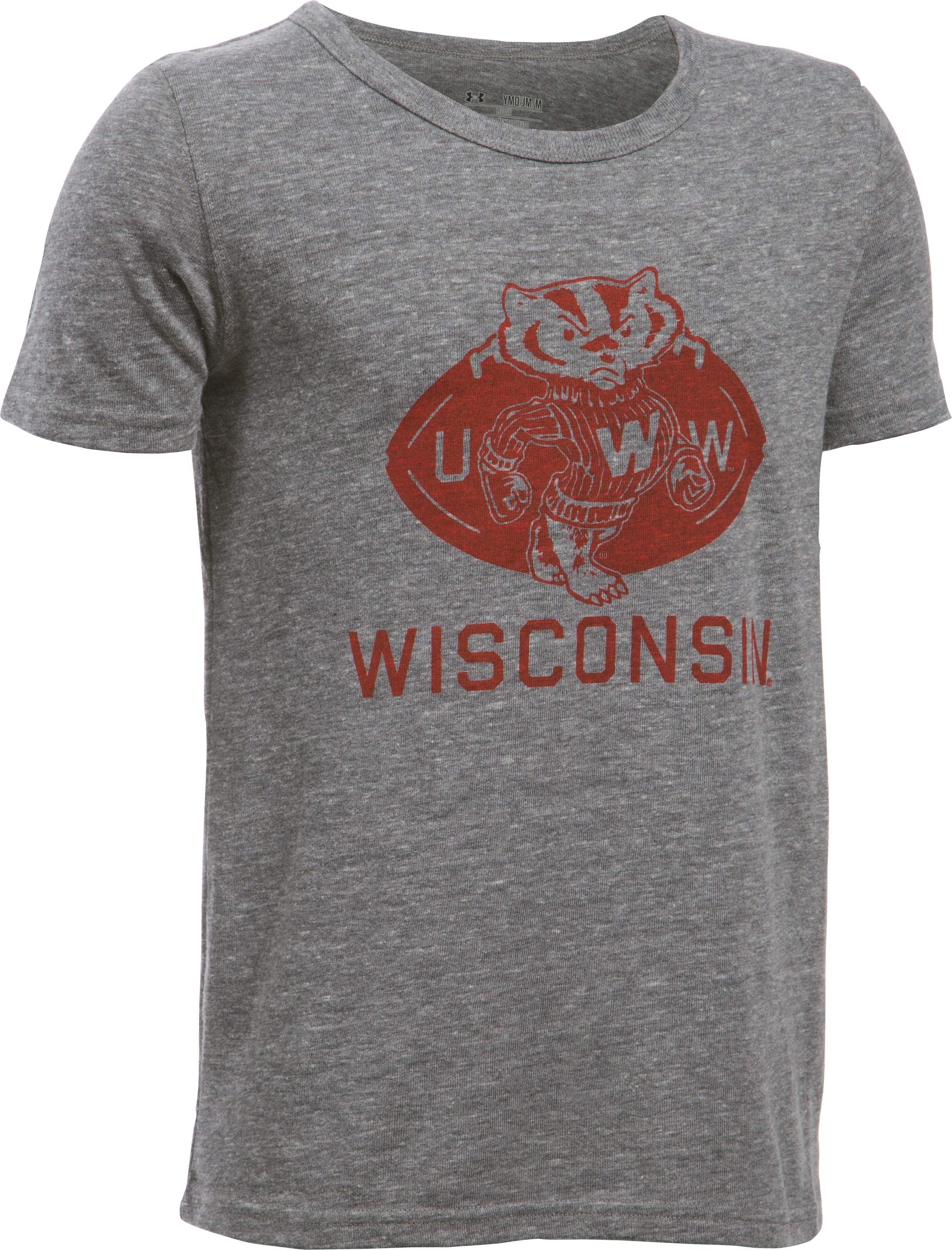 Boys' Wisconsin UA Iconic T-Shirt, True Gray Heather