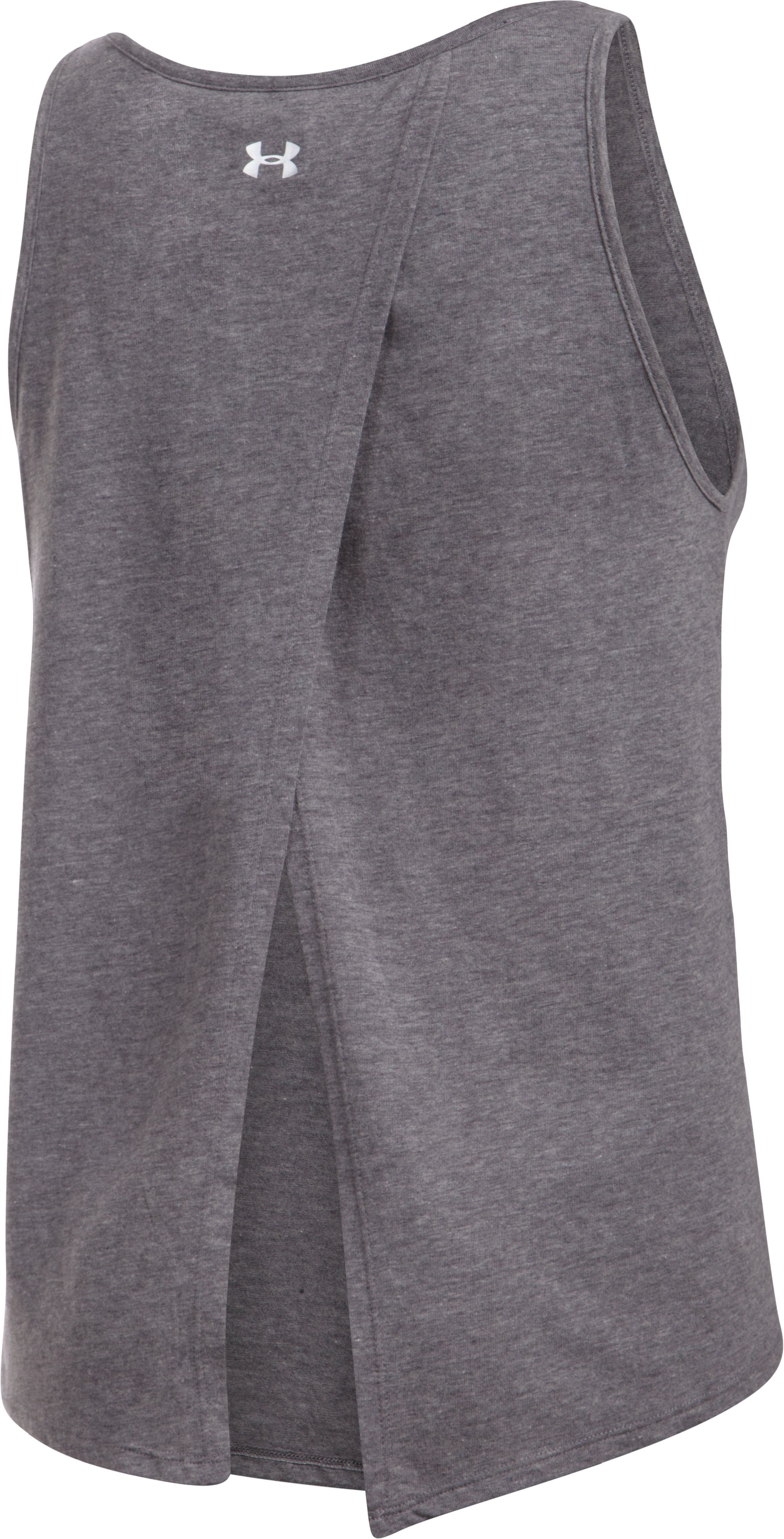 Women's Navy Charged Cotton® Tie Tank , Carbon Heather,