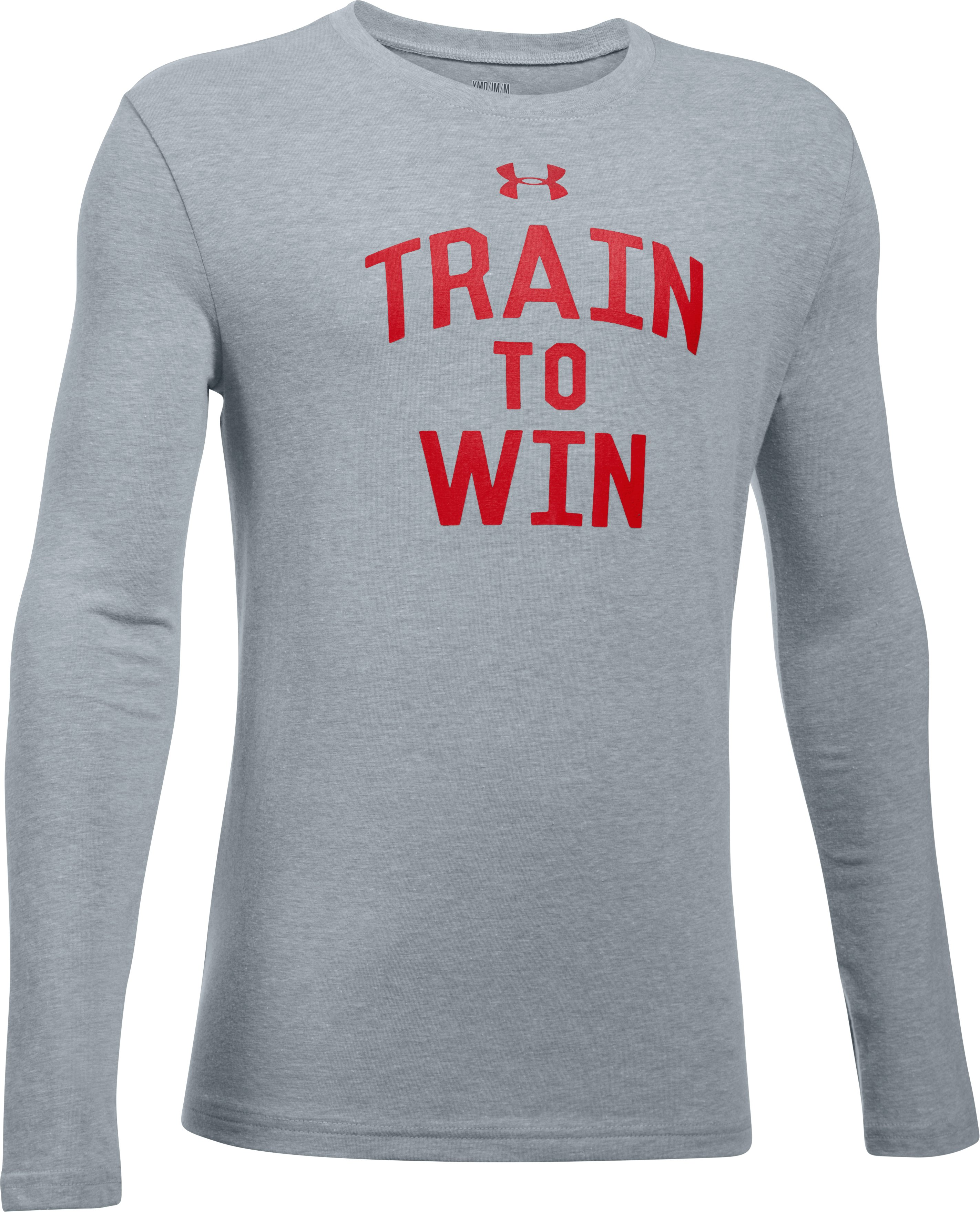 Boys' UA Train To Win Long Sleeve T-Shirt, STEEL LIGHT HEATHER