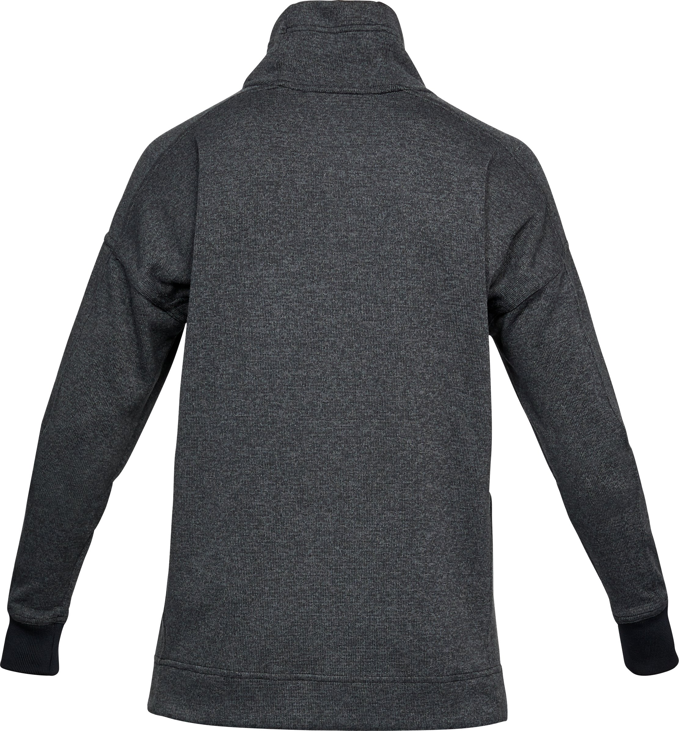 Women's UA SweaterFleece Funnel Neck, BLACK LIGHT HEATHER, undefined