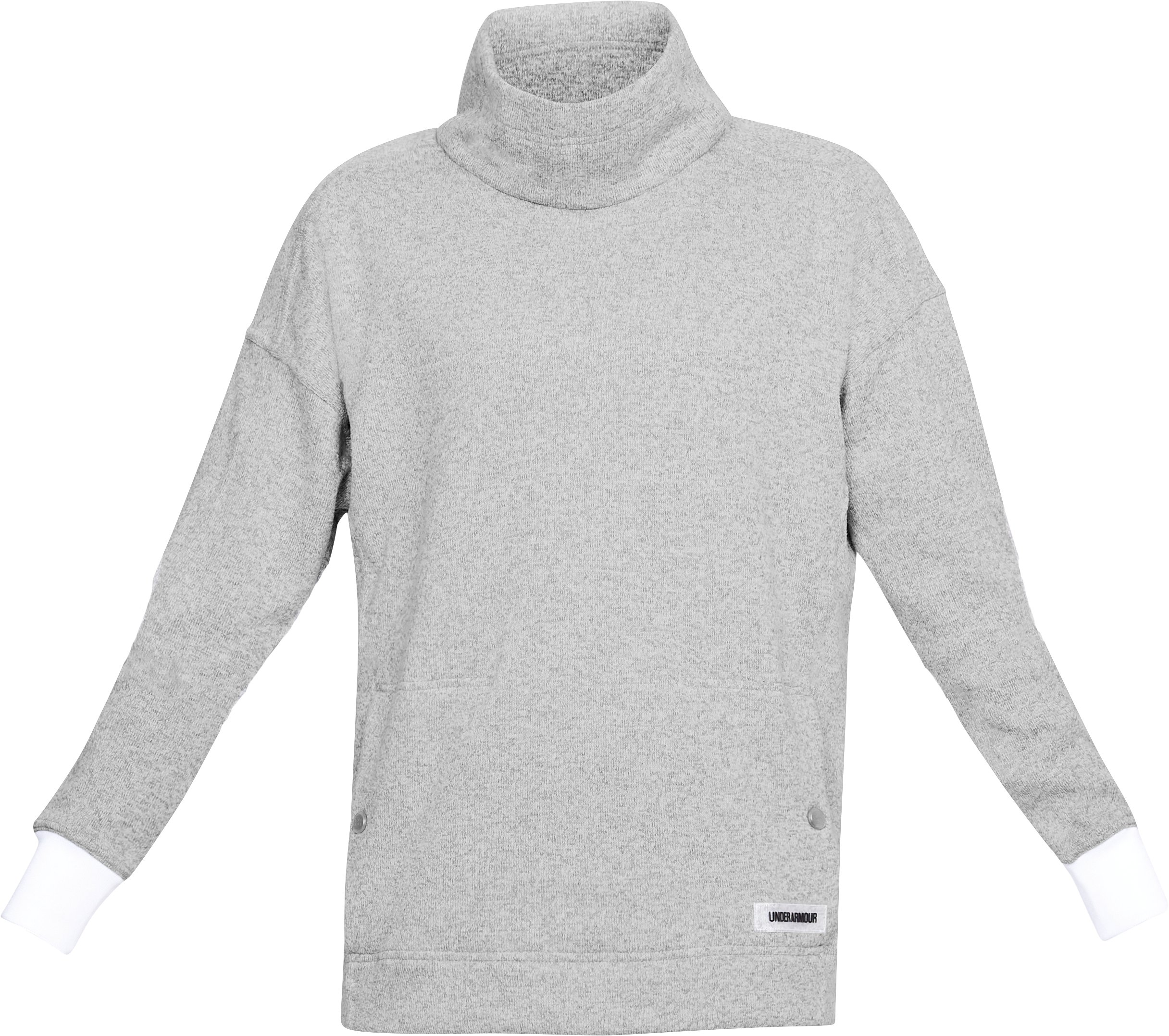 Women's UA SweaterFleece Funnel Neck, True Gray Heather, undefined