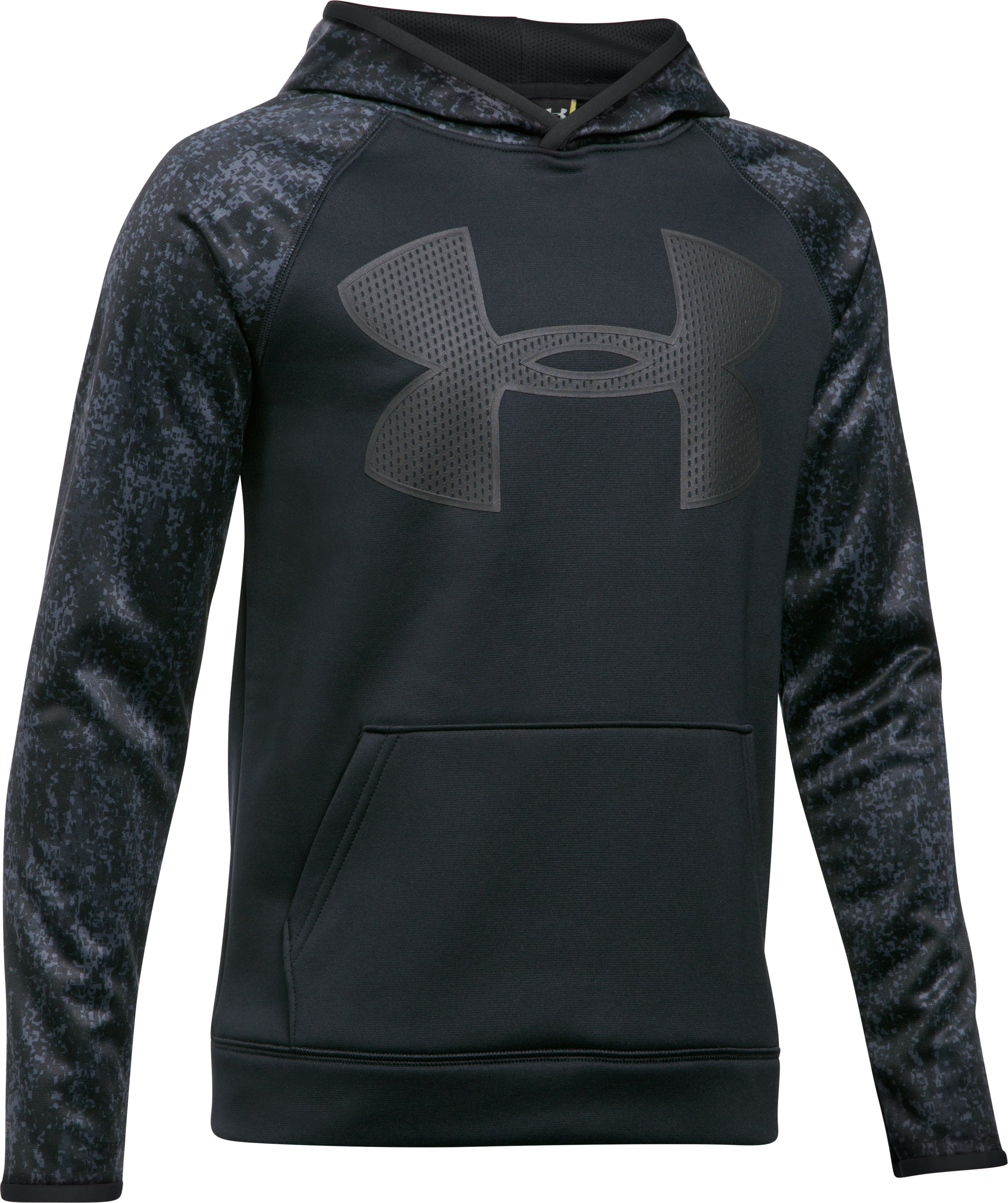 Boys' UA Storm Armour Fleece Big Logo Printed Hoodie, Black ,