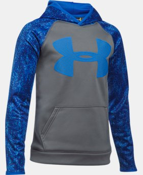 New to Outlet Boys' UA Storm Armour Fleece Big Logo Printed Hoodie  1  Color Available $26.99