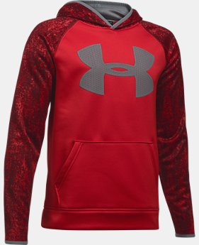Boys' UA Storm Armour Fleece Big Logo Printed Hoodie LIMITED TIME OFFER 1 Color $39.99