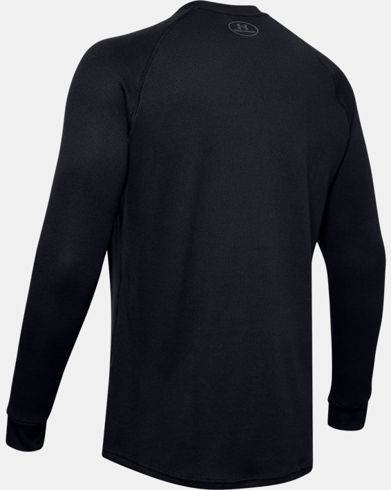 Men's UA Waffle Crew Long Sleeve, Black, pdpMainDesktop image number 5