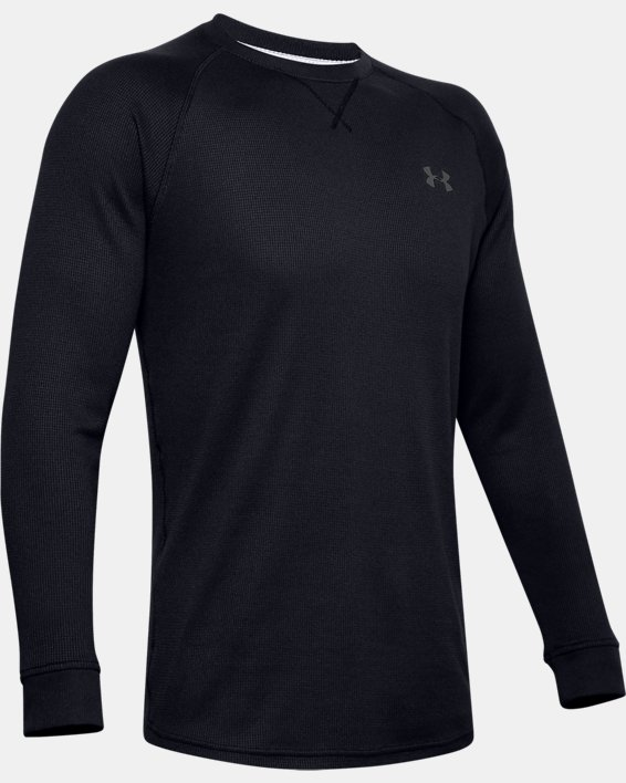Men's UA Waffle Crew Long Sleeve, Black, pdpMainDesktop image number 4