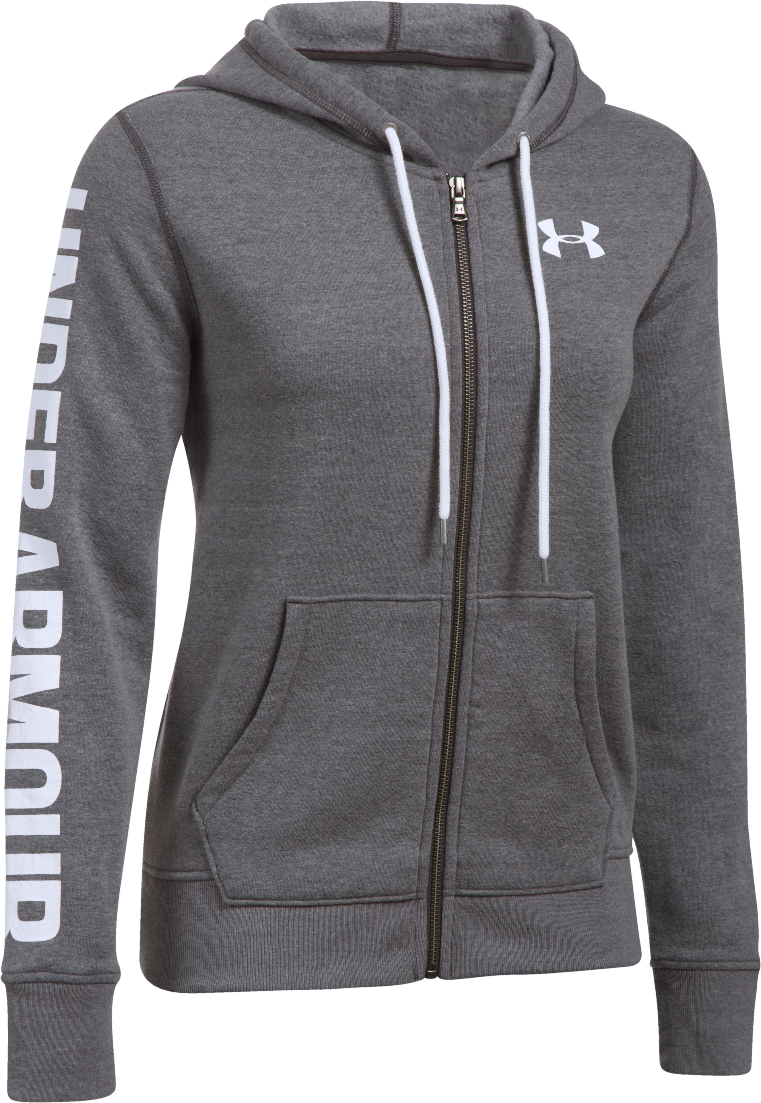 Women's UA Favorite Fleece Full Zip Hoodie, Carbon Heather,