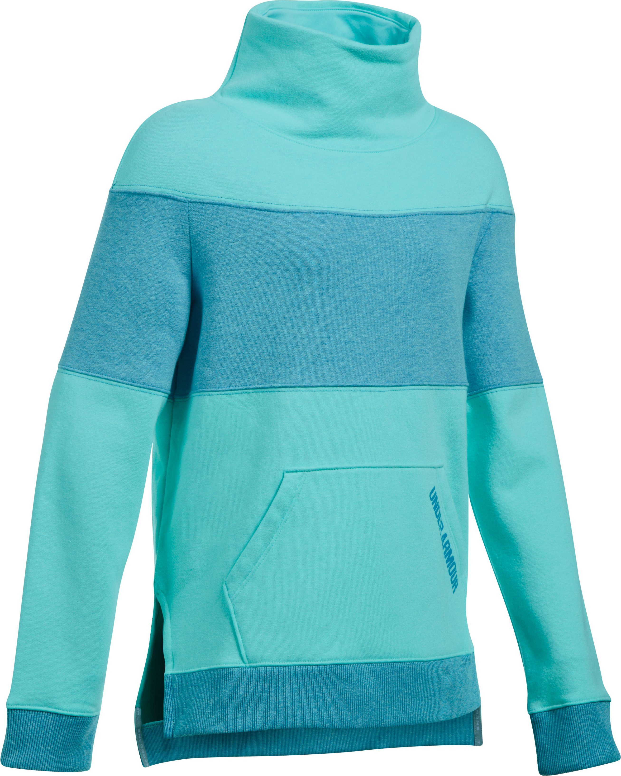 Girls' UA Threadborne™ Fleece Slouchy Crew, BLUE INFINITY