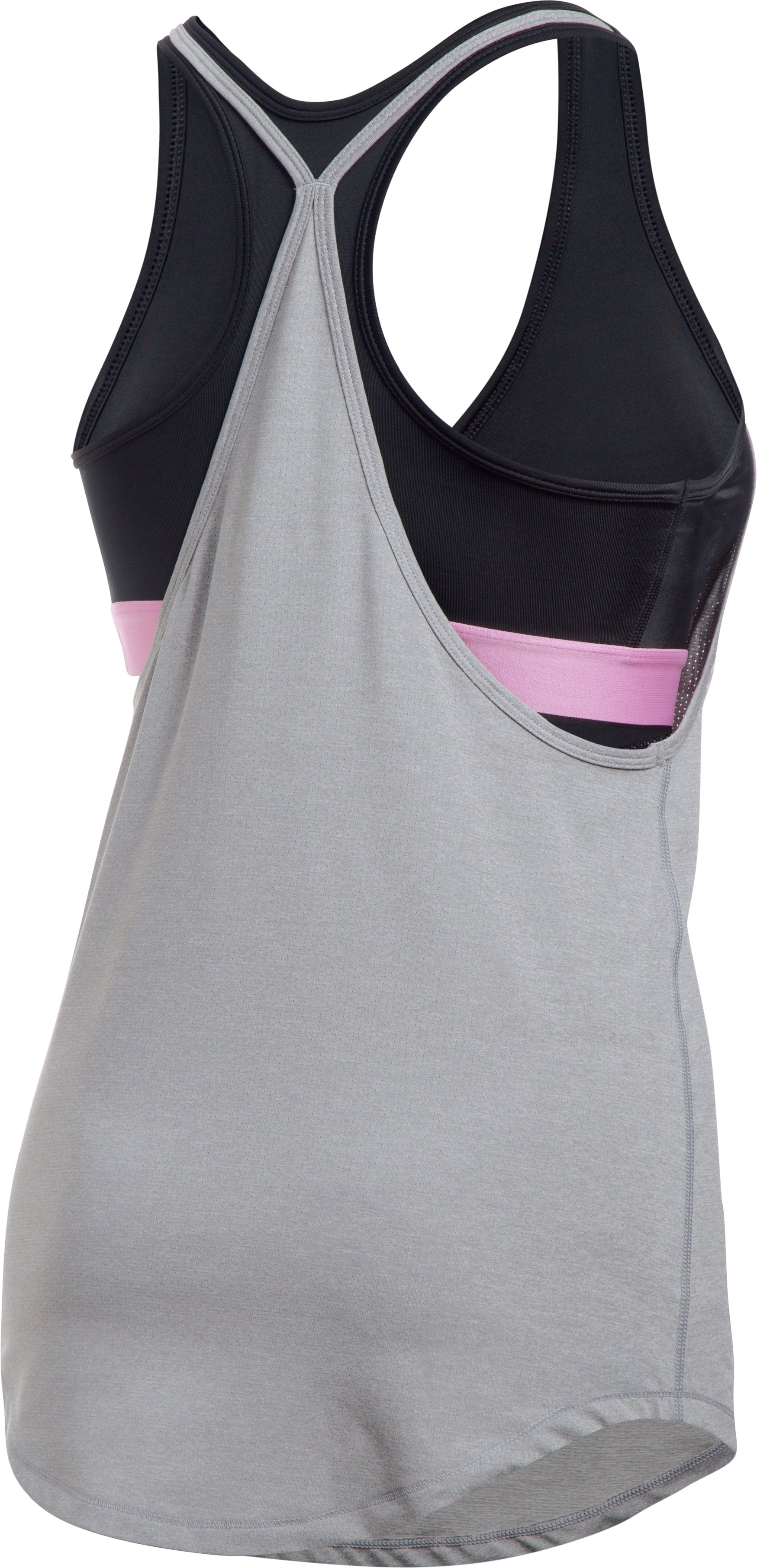 Women's HeatGear® Armour 2-in-1 Printed Tank, True Gray Heather, undefined