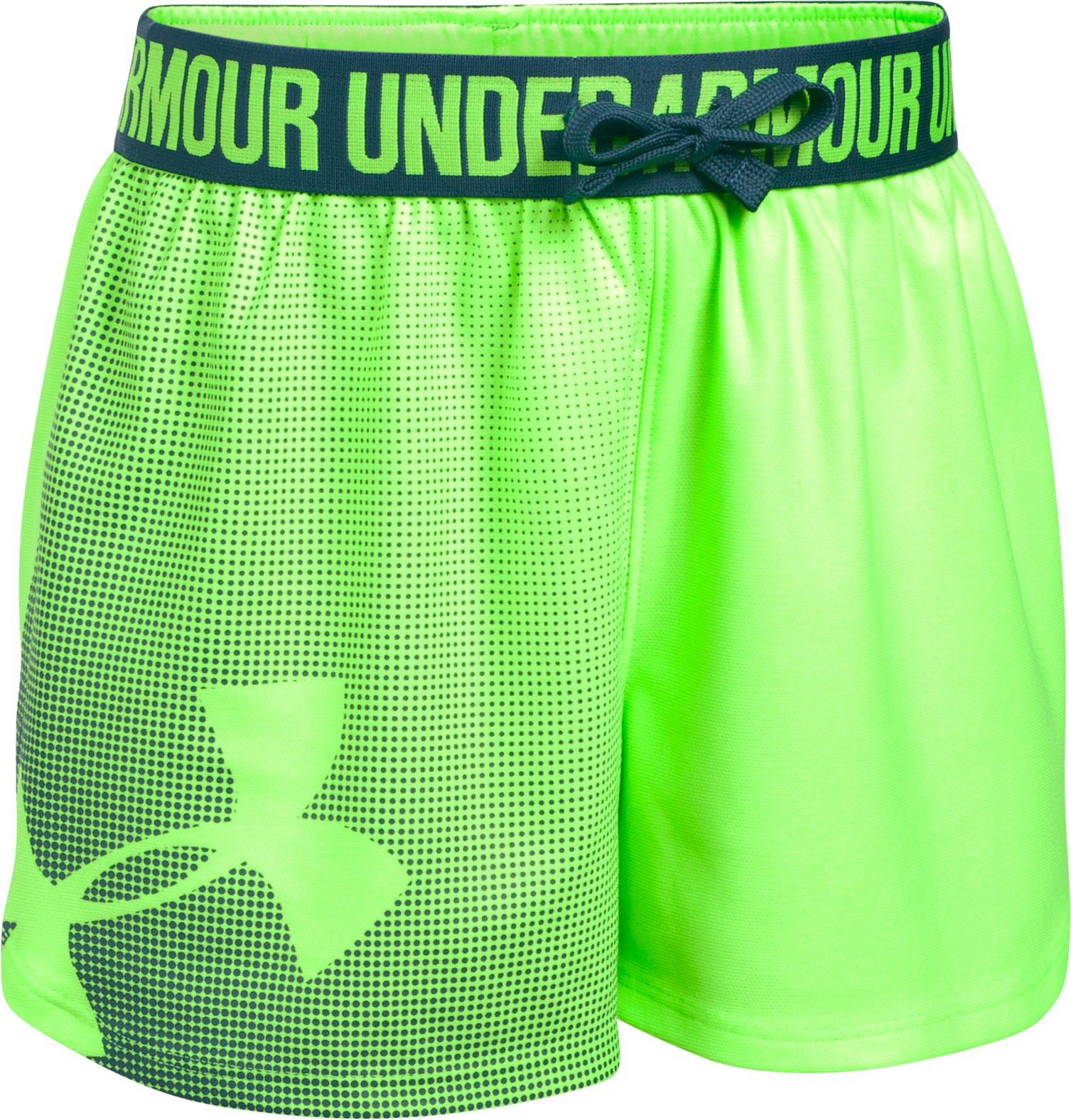 Girls' UA Play Up Graphic Shorts, QUIRKY LIME