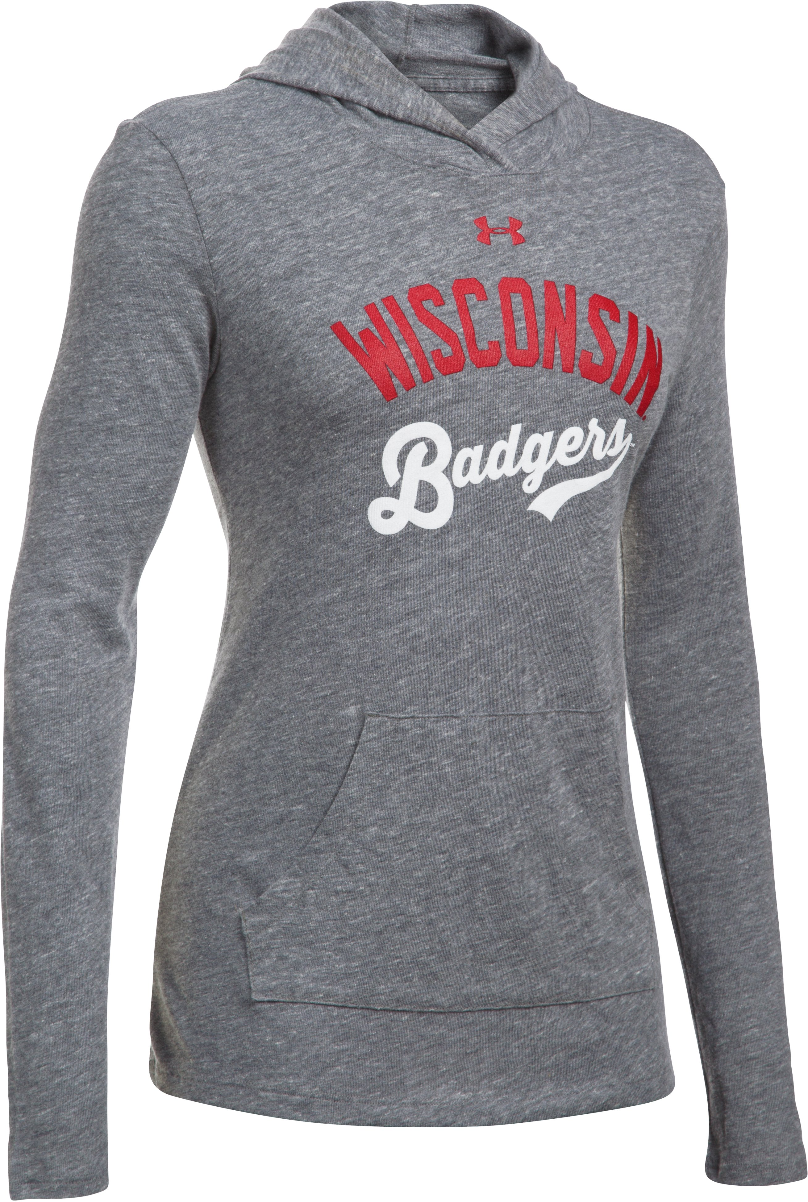 Women's Wisconsin UA Charged Cotton® Tri-Blend Hoodie, LEGACY GRAY HEATHER, undefined
