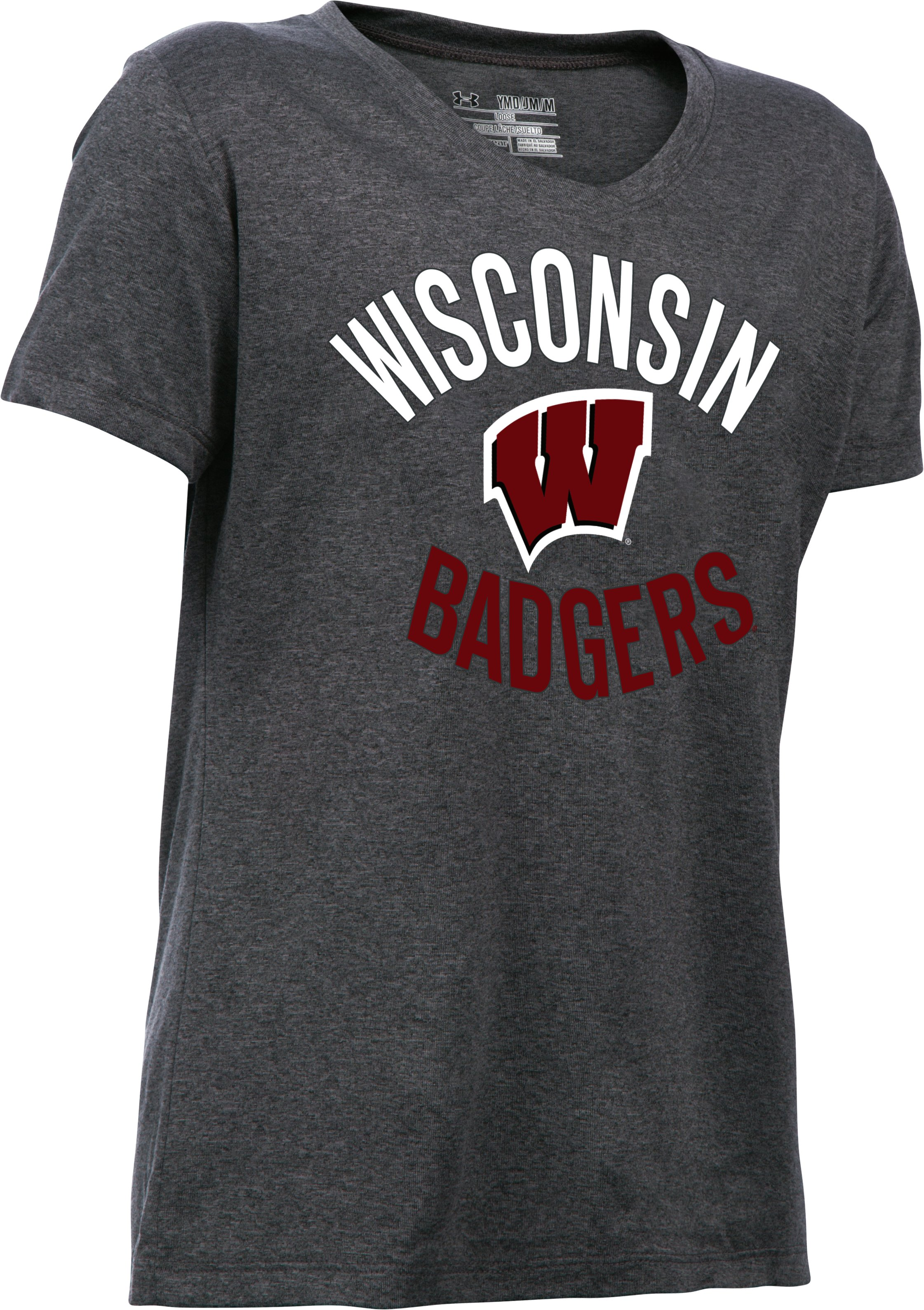 Girls' Wisconsin UA Tech™ T-Shirt, Carbon Heather, undefined