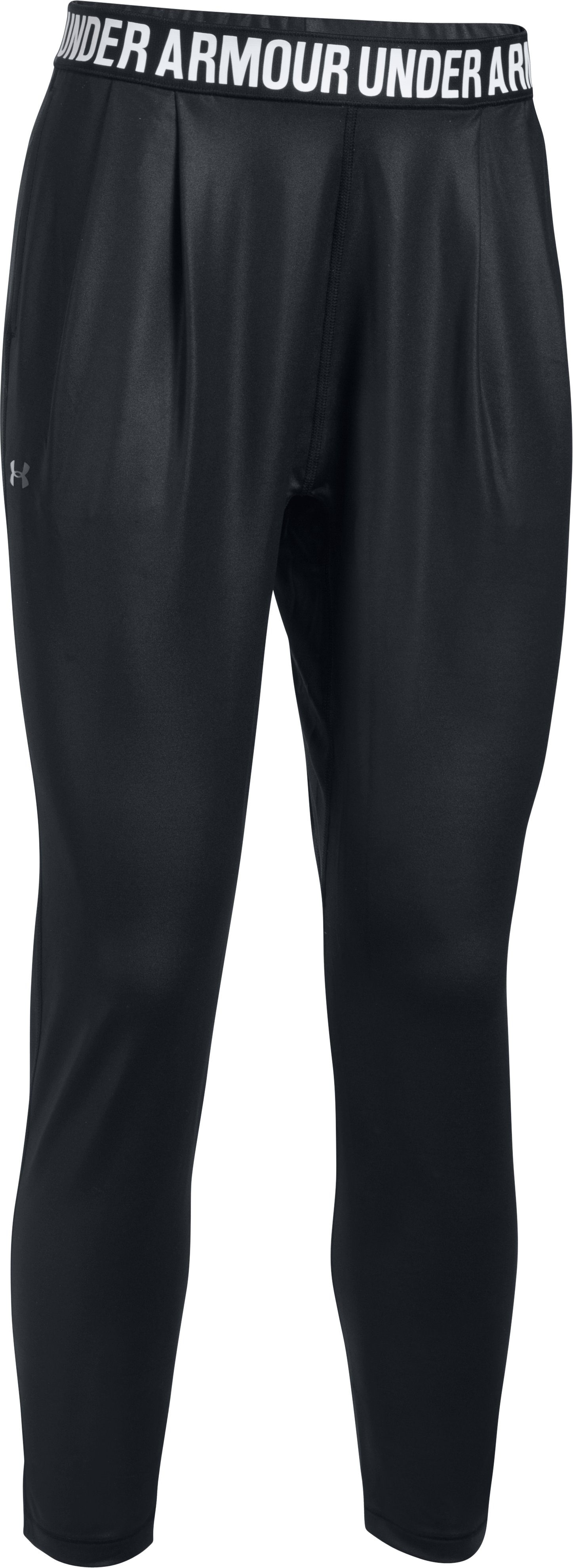 Women's UA Rehearsal Harem Shine Pants, Black , undefined