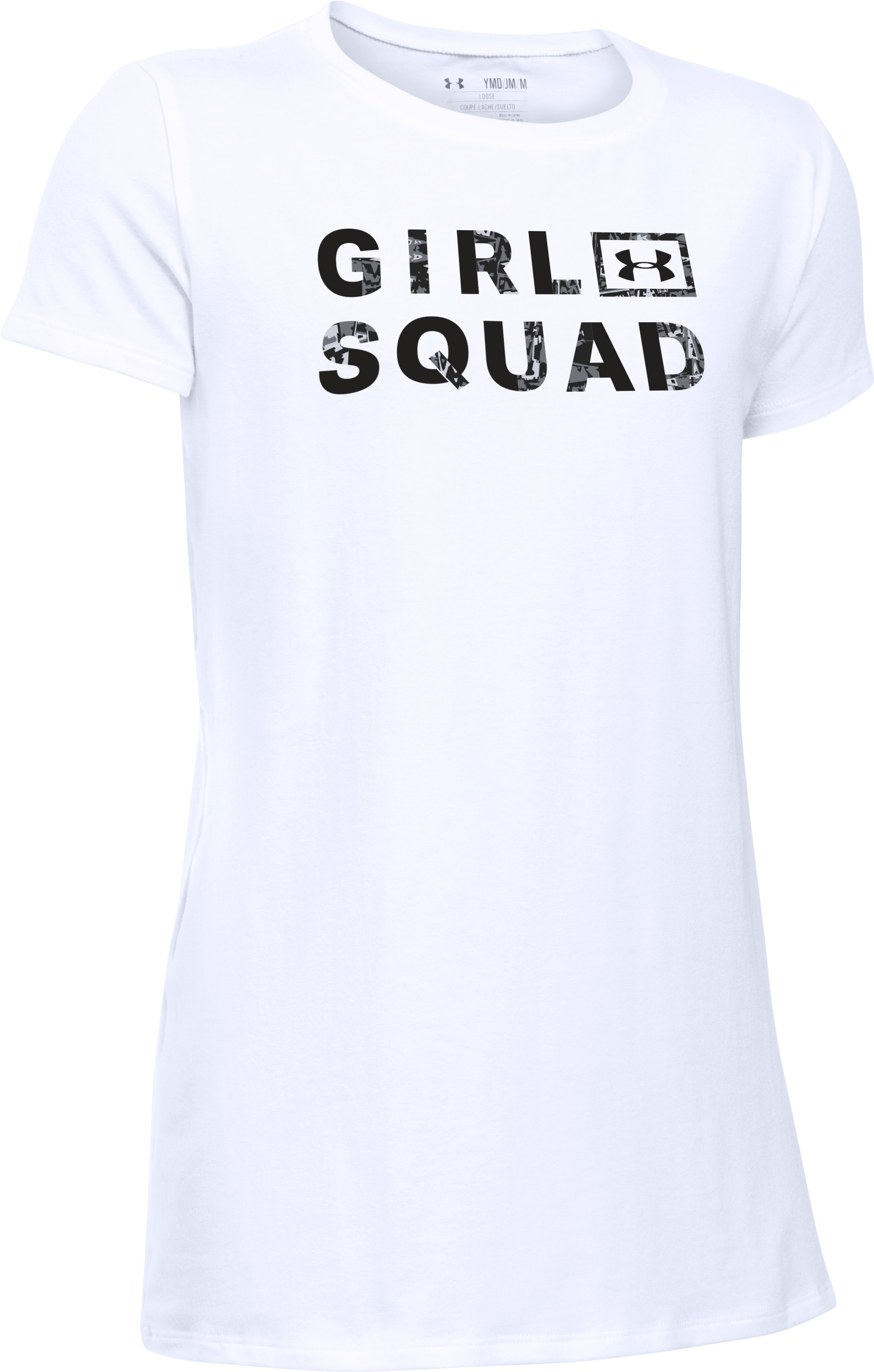 Girls' UA Girl Squad Short Sleeve T-Shirt, White, undefined