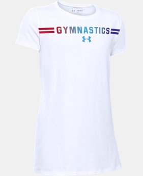 New Arrival Girls' UA Gymnastics Wordmark Short Sleeve T-Shirt LIMITED TIME: FREE SHIPPING 2 Colors $19.99