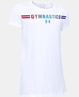New Arrival  Girls' UA Gymnastics Wordmark Short Sleeve T-Shirt LIMITED TIME: FREE SHIPPING 1 Color $22.99
