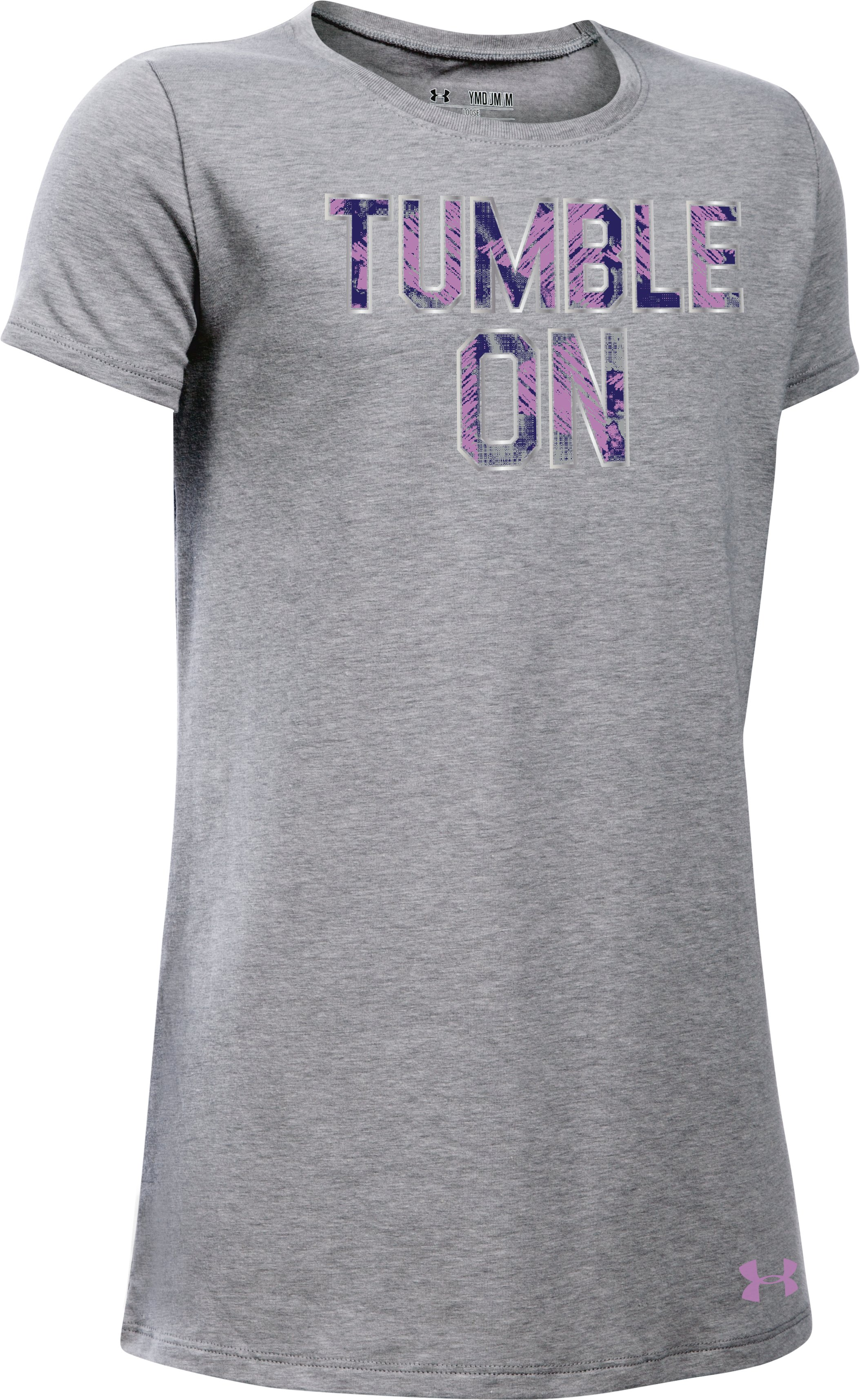 Girls' UA Tumble On T-Shirt, True Gray Heather, zoomed image