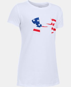 Girls' UA USA Big Logo Short Sleeve T-Shirt LIMITED TIME: FREE SHIPPING 1 Color $19.99