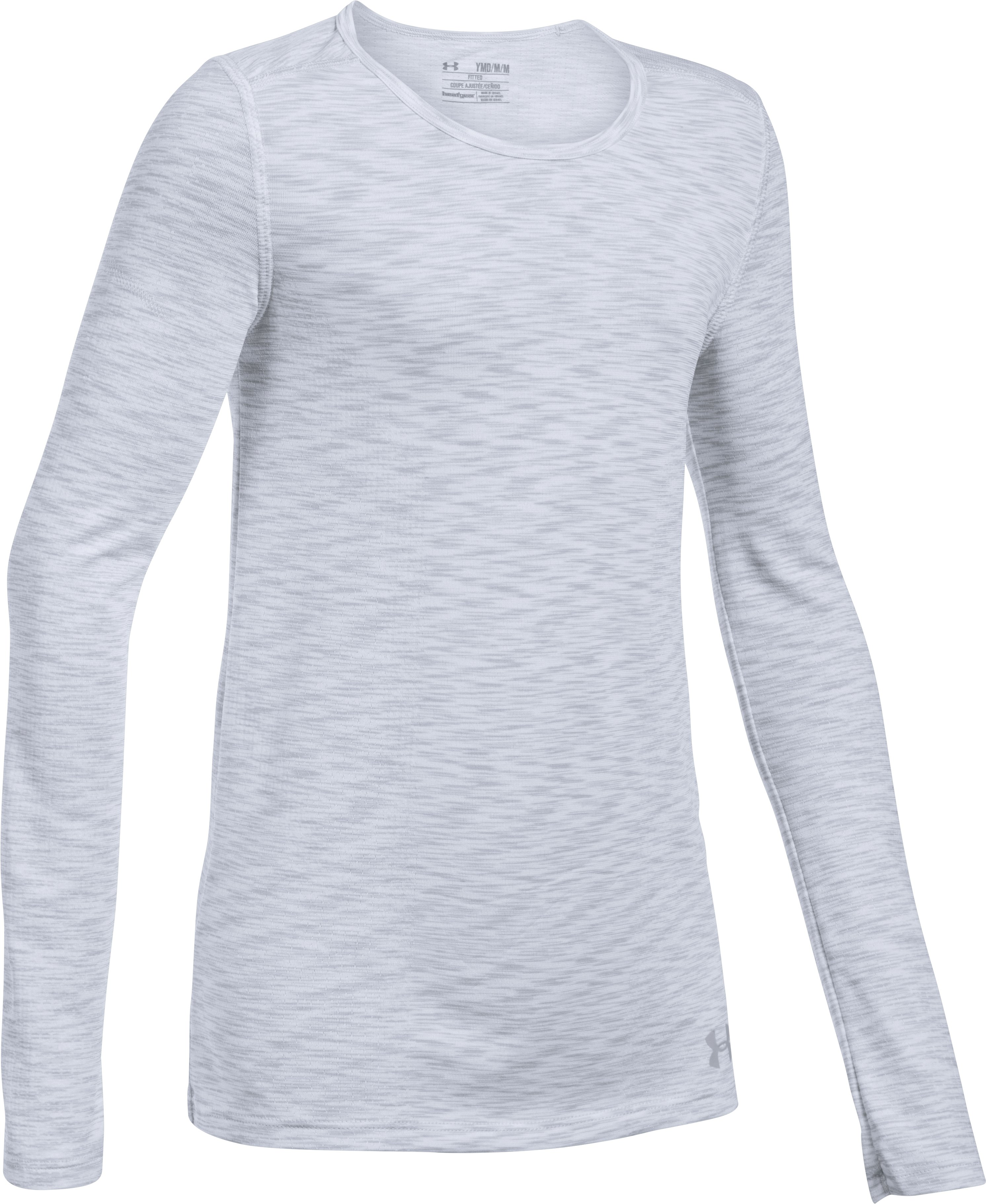 Girls' UA Elevated Seamless Long Sleeve, White
