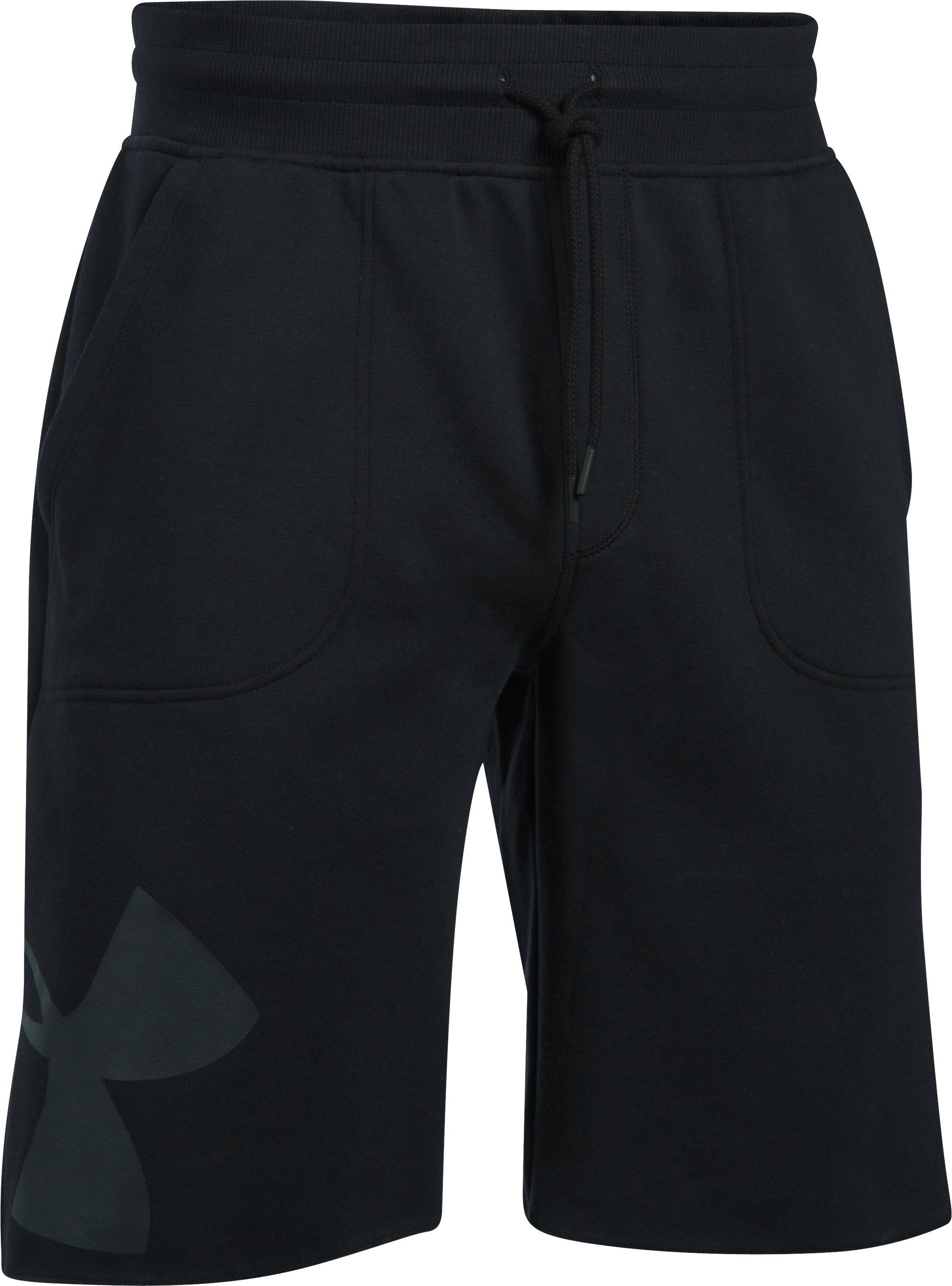 Men's UA Rival Fleece Exploded Logo Shorts, Black , undefined
