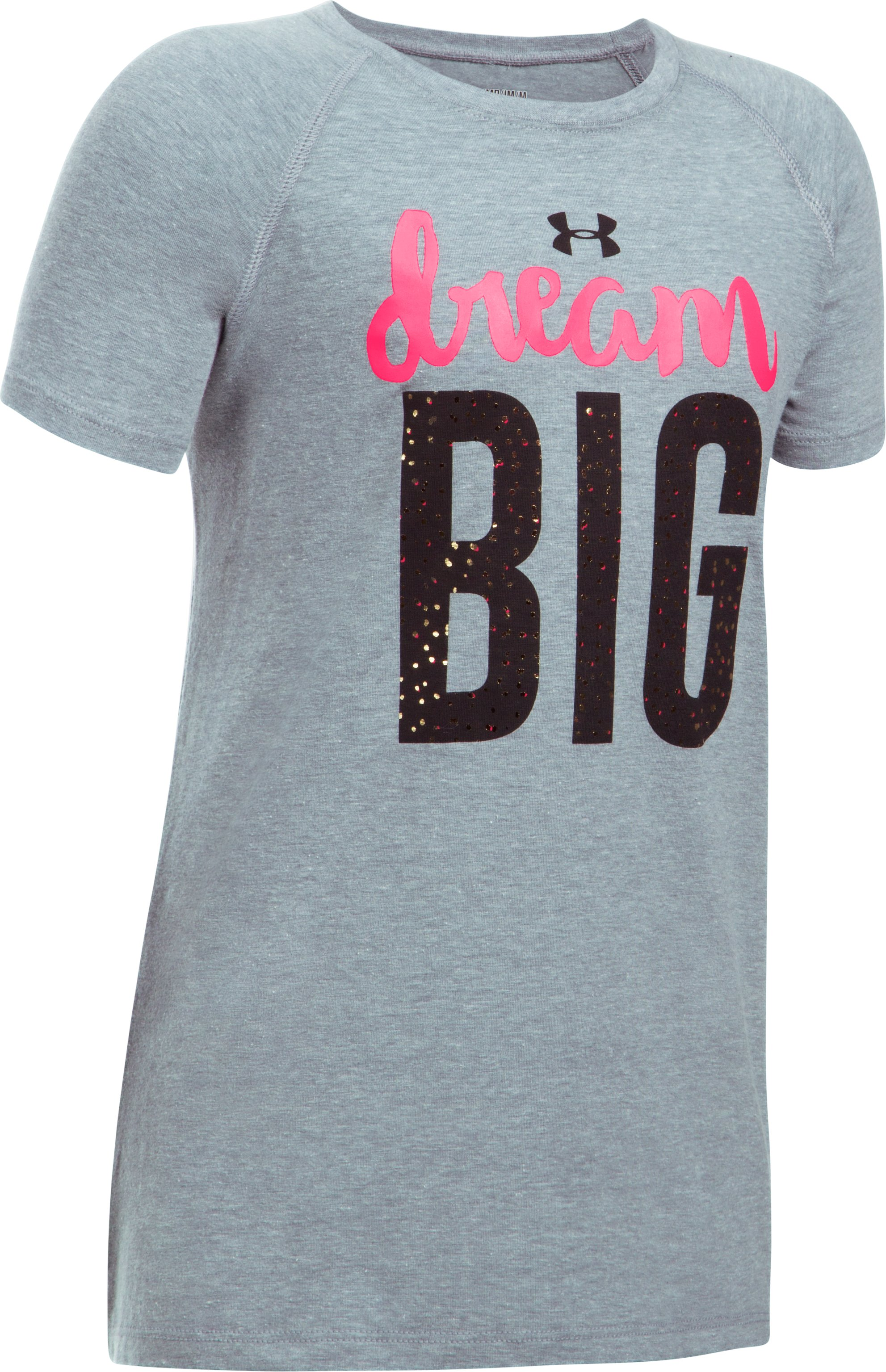 Girls' UA Dream Big Short Sleeve T-Shirt, STEEL LIGHT HEATHER, undefined