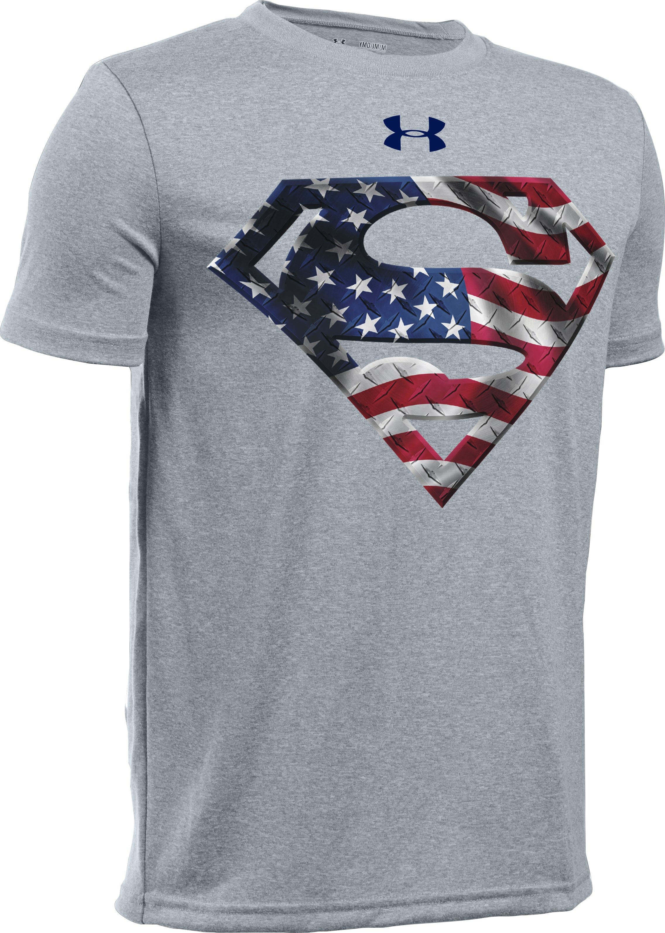 Boys' UA Alter Ego Superman USA T-Shirt, True Gray Heather