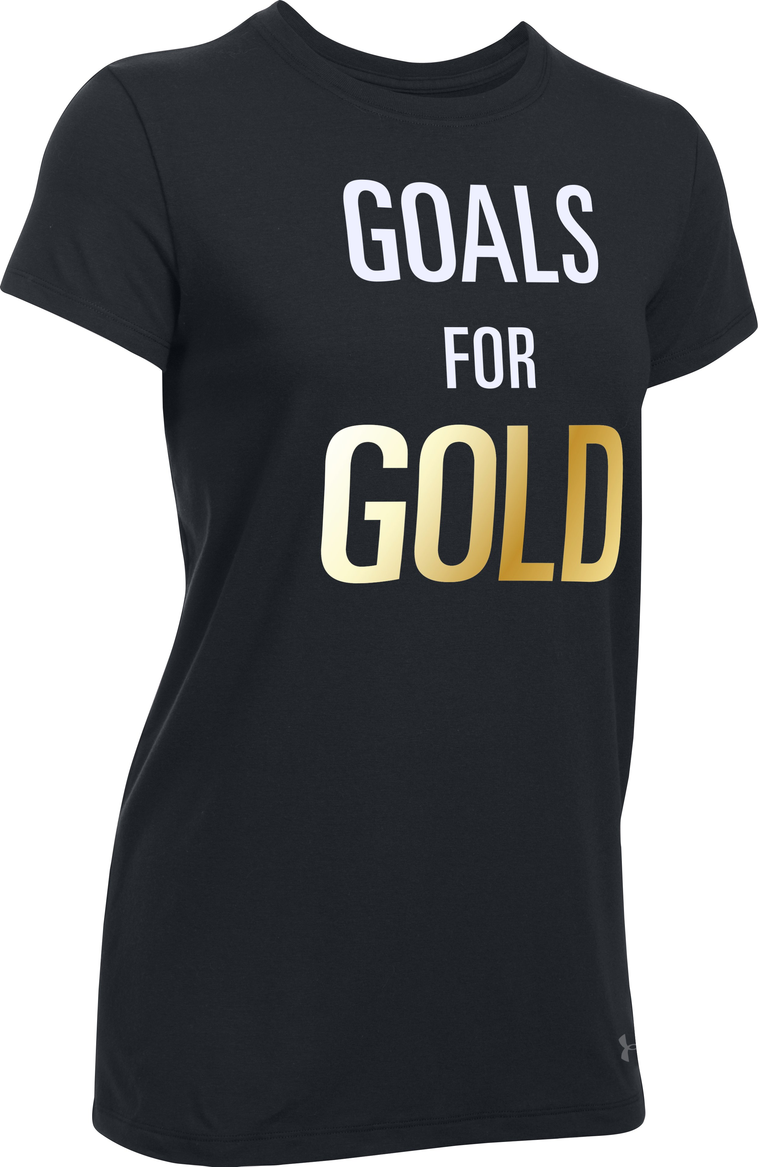 Women's UA Stars & Stripes Gold Short Sleeve T-Shirt, Black ,