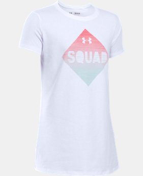 New Arrival Girls' UA Armour Squad Short Sleeve T-Shirt LIMITED TIME: FREE SHIPPING 2 Colors $19.99
