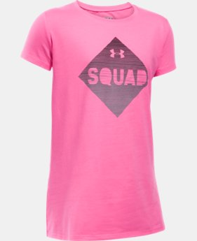 New Arrival Girls' UA Armour Squad Short Sleeve T-Shirt LIMITED TIME: FREE SHIPPING 1 Color $19.99
