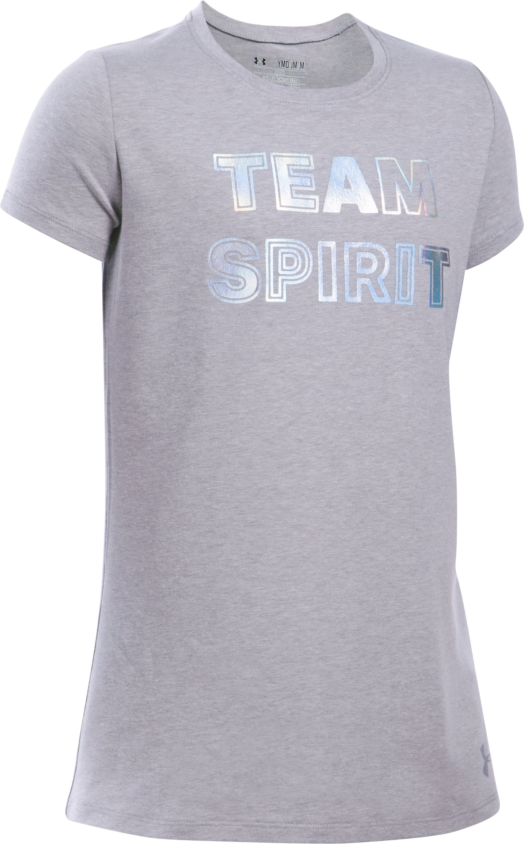 Girls' UA Team Spirit Short Sleeve T-Shirt, True Gray Heather, zoomed image