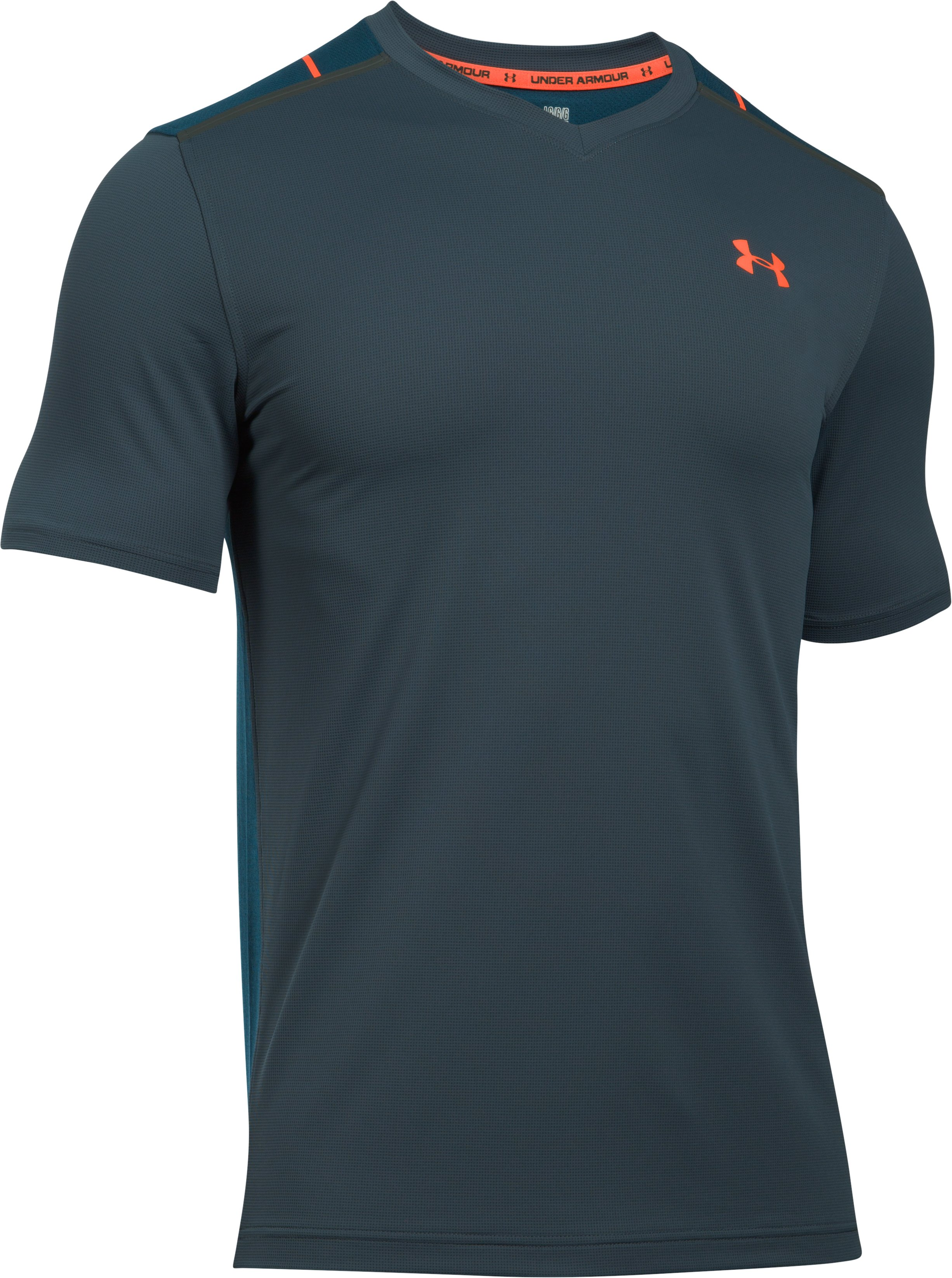 Men's UA Threadborne™ Center Court Printed V-Neck, STEALTH GRAY, undefined