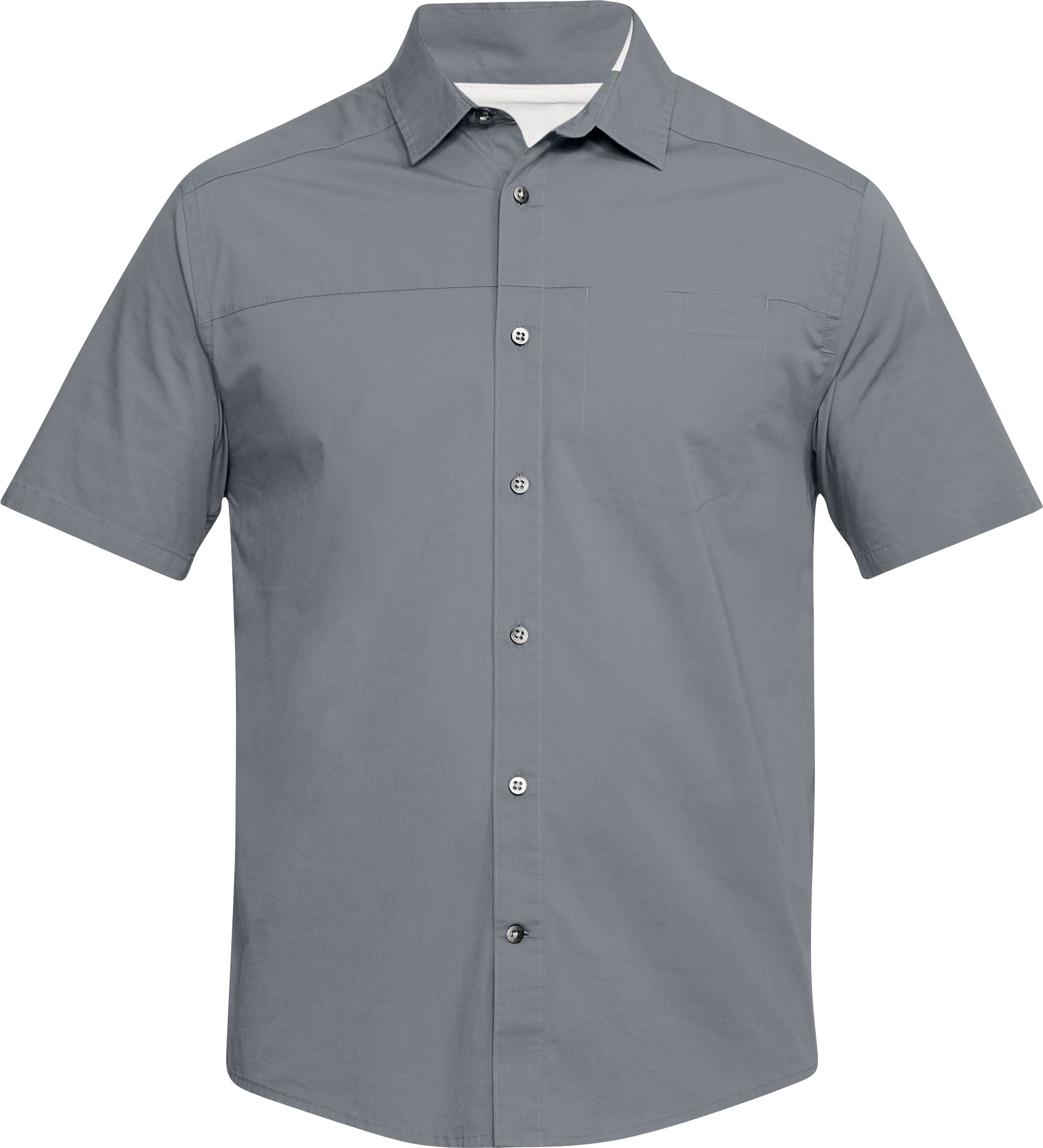 Men's UA Pierpoint Woven Short Sleeve Button Down, Steel,