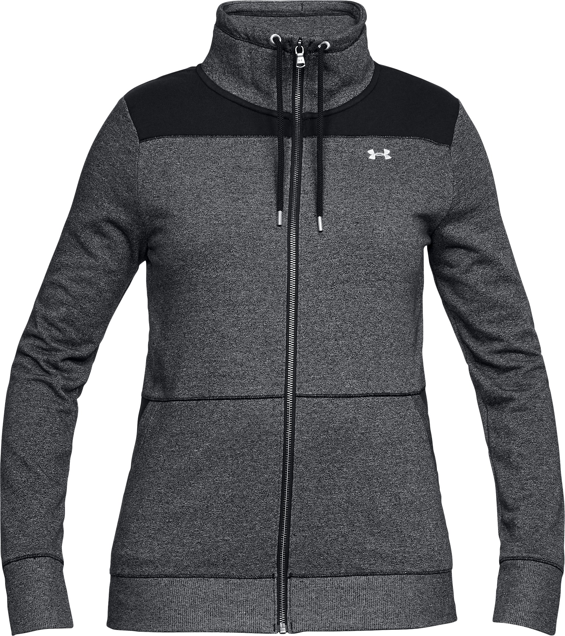 Women's UA Microthread Shoreline Terry Full Zip, Black ,