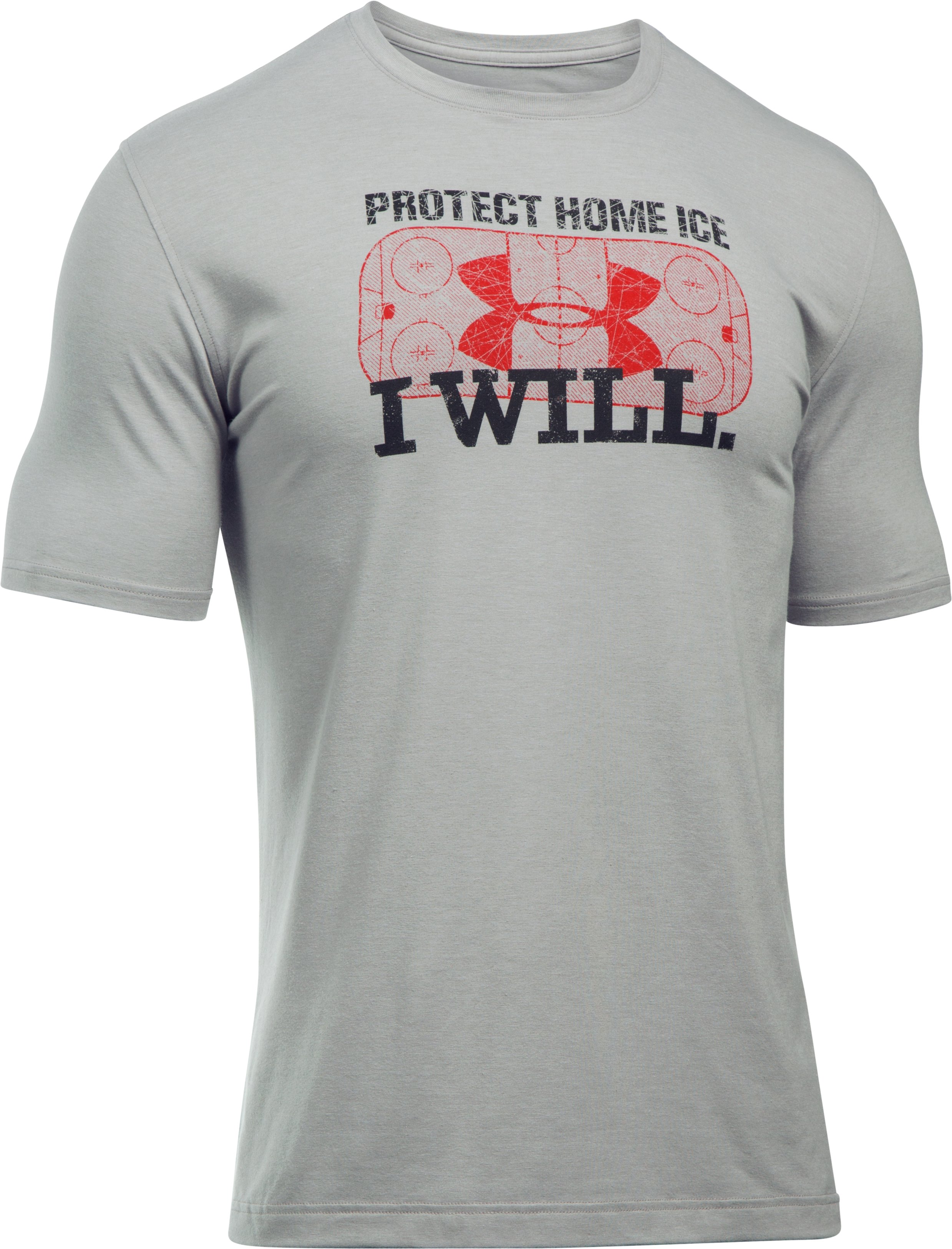 Men's UA Hockey Protect Home Ice T-Shirt, True Gray Heather, undefined
